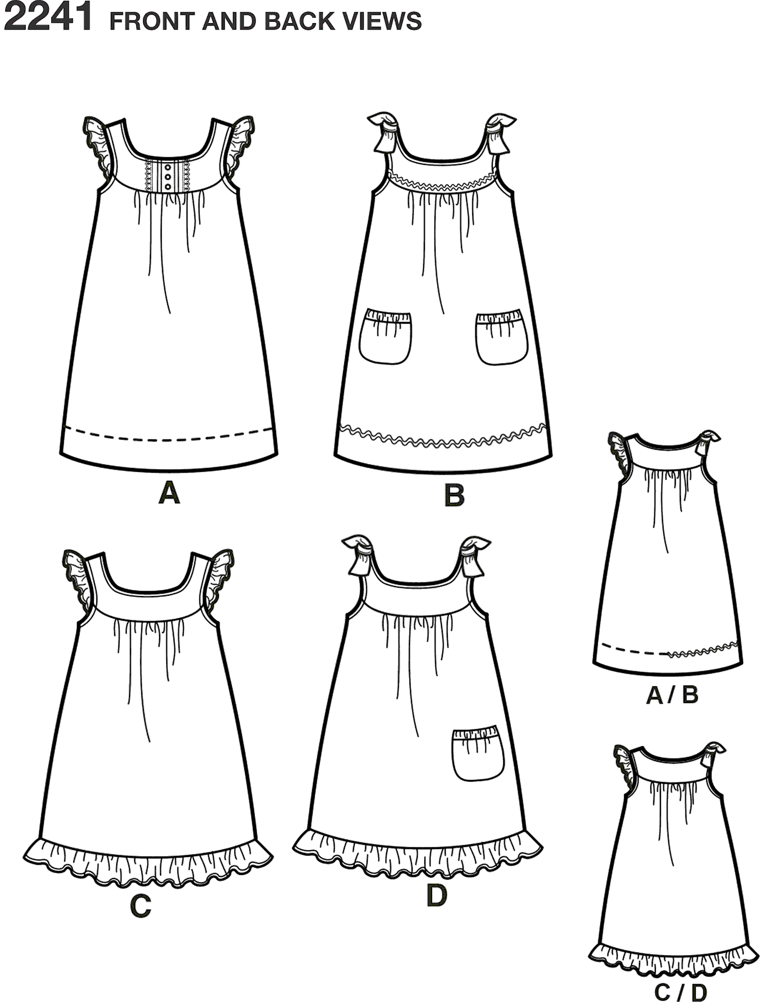 Simplicity Pattern 2241 Learn to Sew Childs and Girls Dresses Line Art From Patternsandplains.com