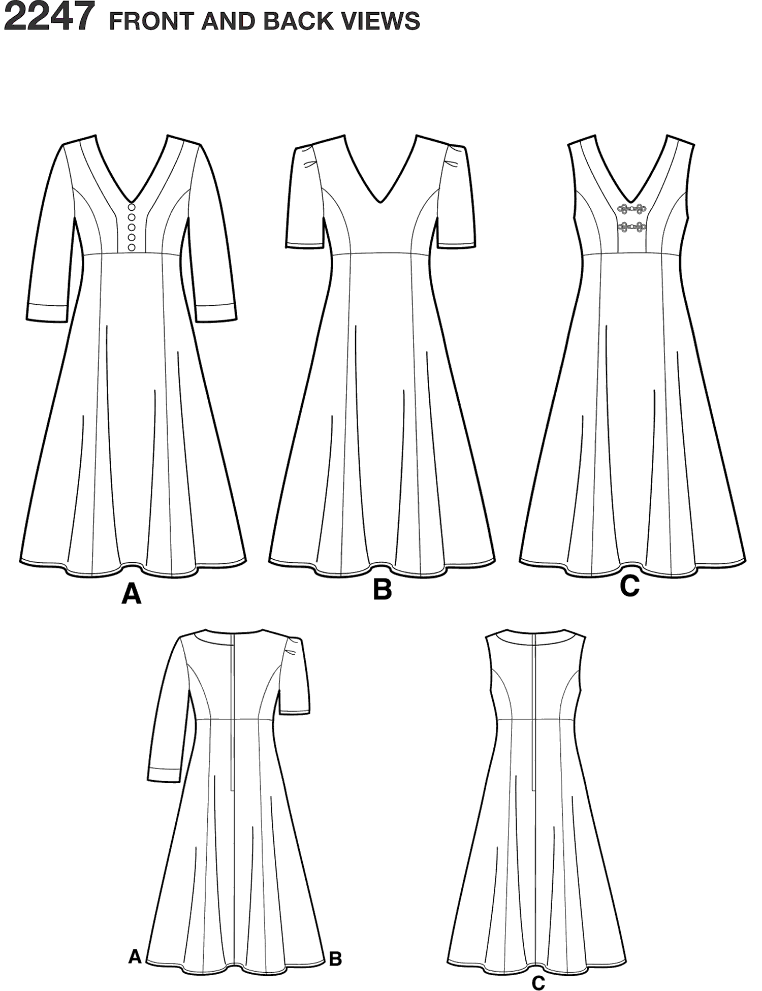Simplicity Pattern 2247 Womens and Plus Size Amazing Fit Dresses Line Art From Patternsandplains.com