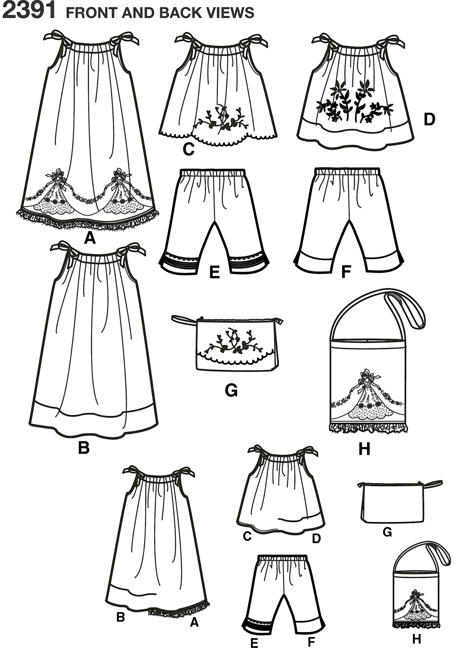 Simplicity Pattern 2391 Childs vintage pillow case fashion Line Art From Patternsandplains.com
