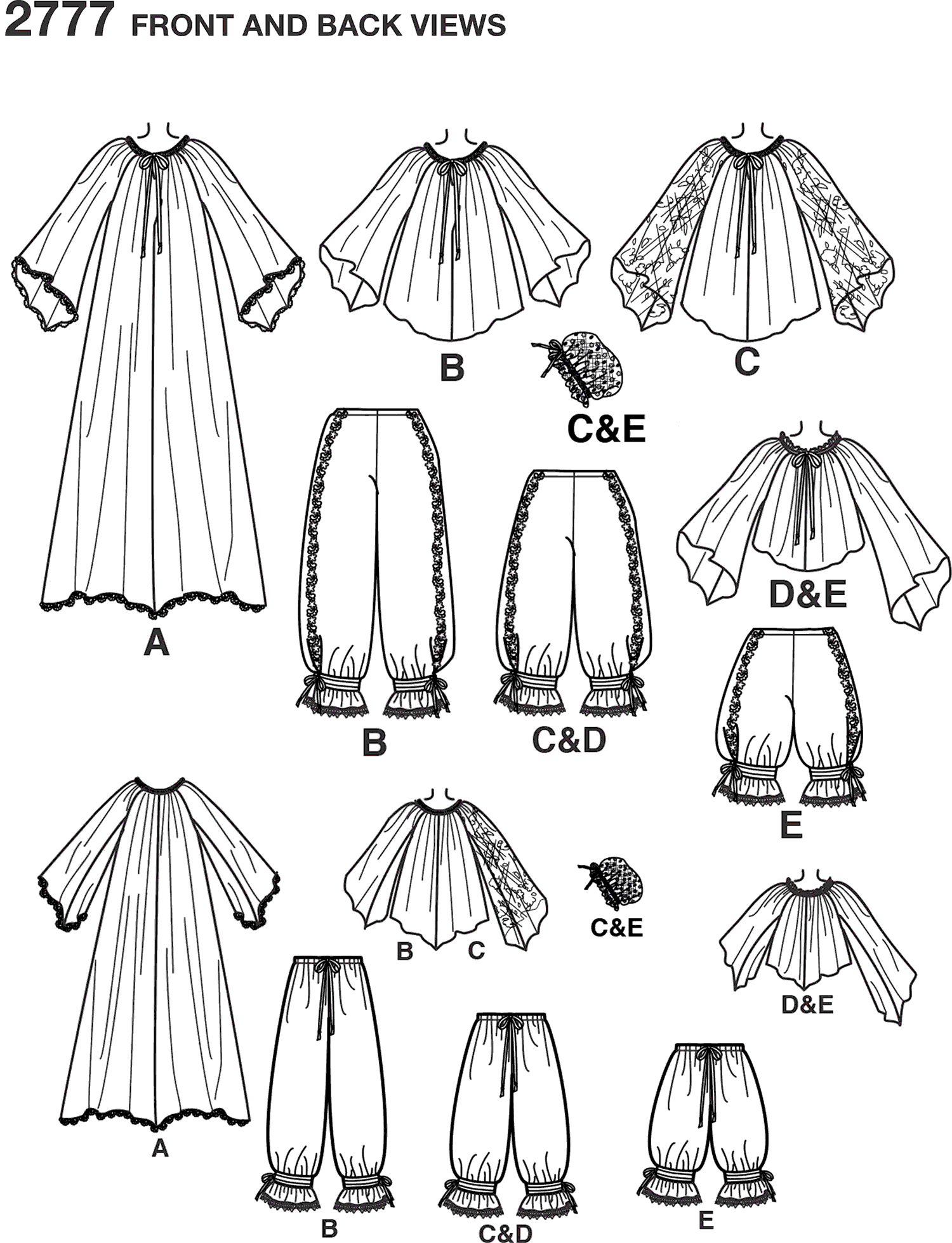 Simplicity Pattern 2777 Womens Costumes Line Art From Patternsandplains.com