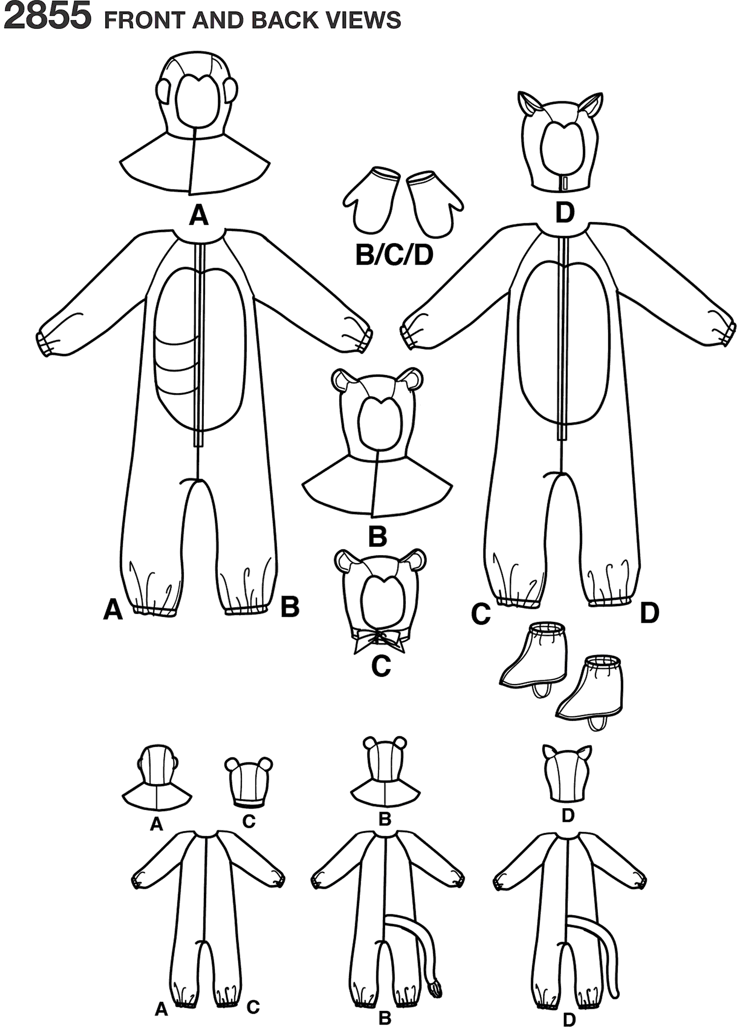 Simplicity Pattern 2855 Child Boy and Girl Costumes Line Art From Patternsandplains.com