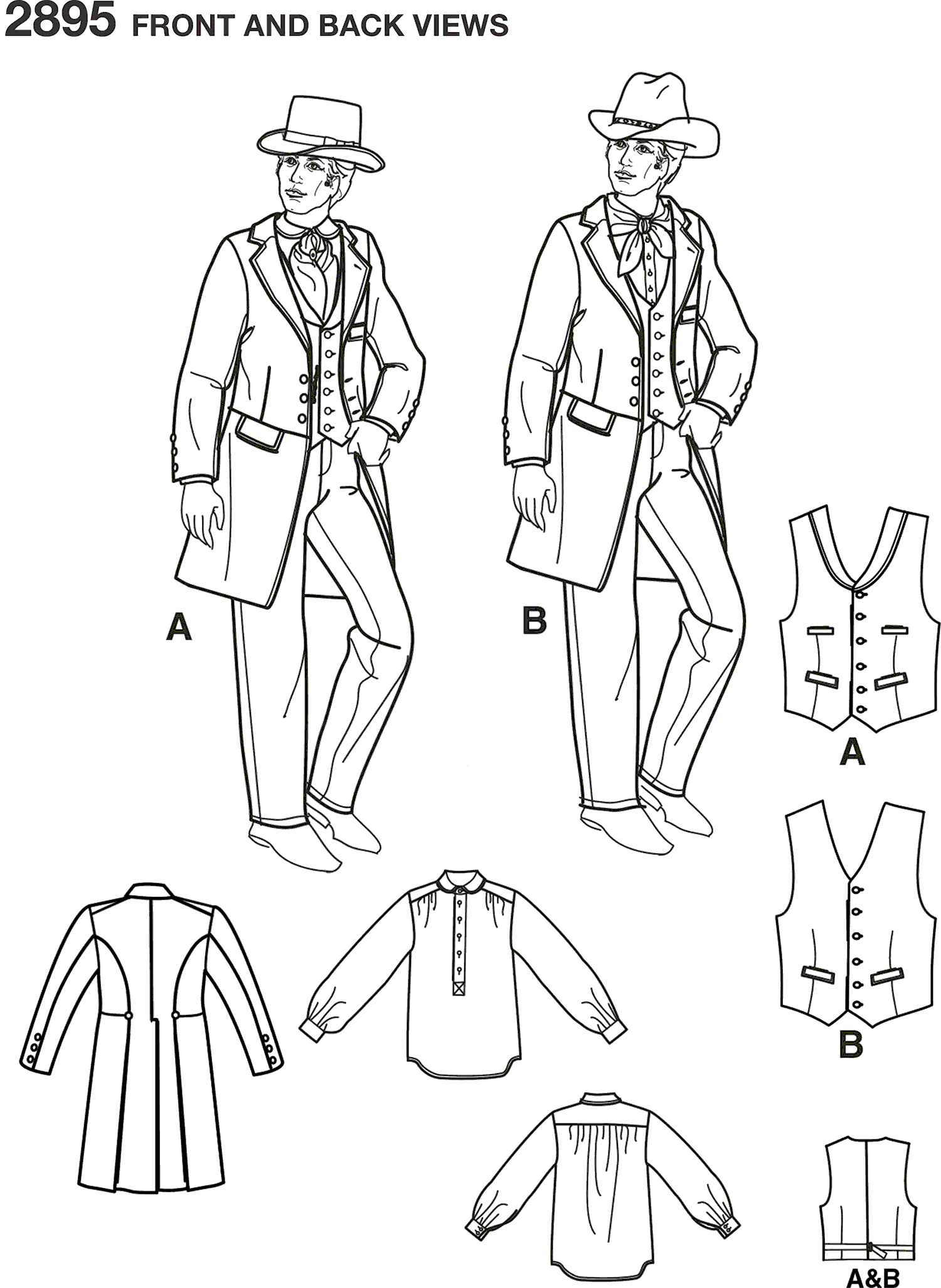 Simplicity Pattern 2895 Men Costumes Line Art From Patternsandplains.com