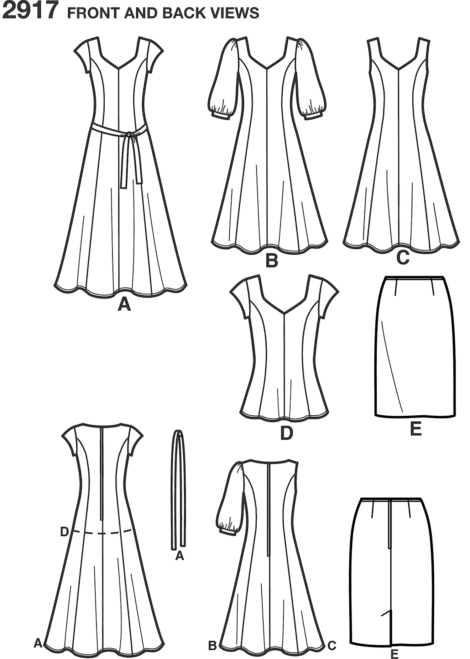 Simplicity Pattern 2917 Womens and Plus Size Dresses Line Art From Patternsandplains.com