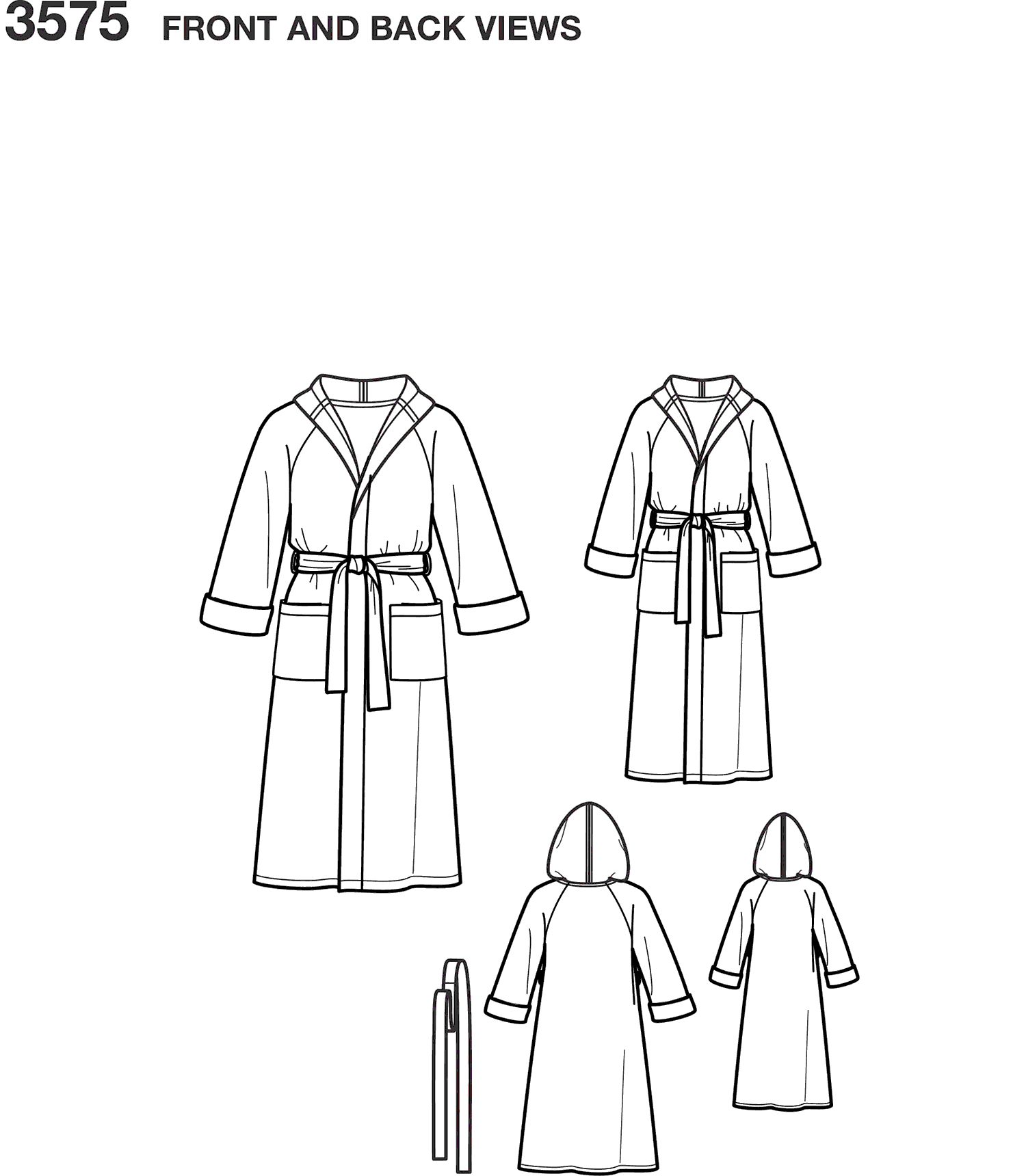 Simplicity Pattern 3575 Womens Men Child Sleepwear Line Art From Patternsandplains.com