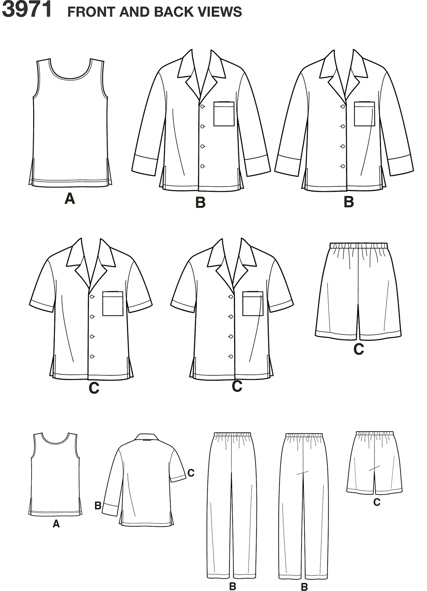 Simplicity Pattern 3971 Womens and Mens Plus Size Sleepwear Line Art From Patternsandplains.com