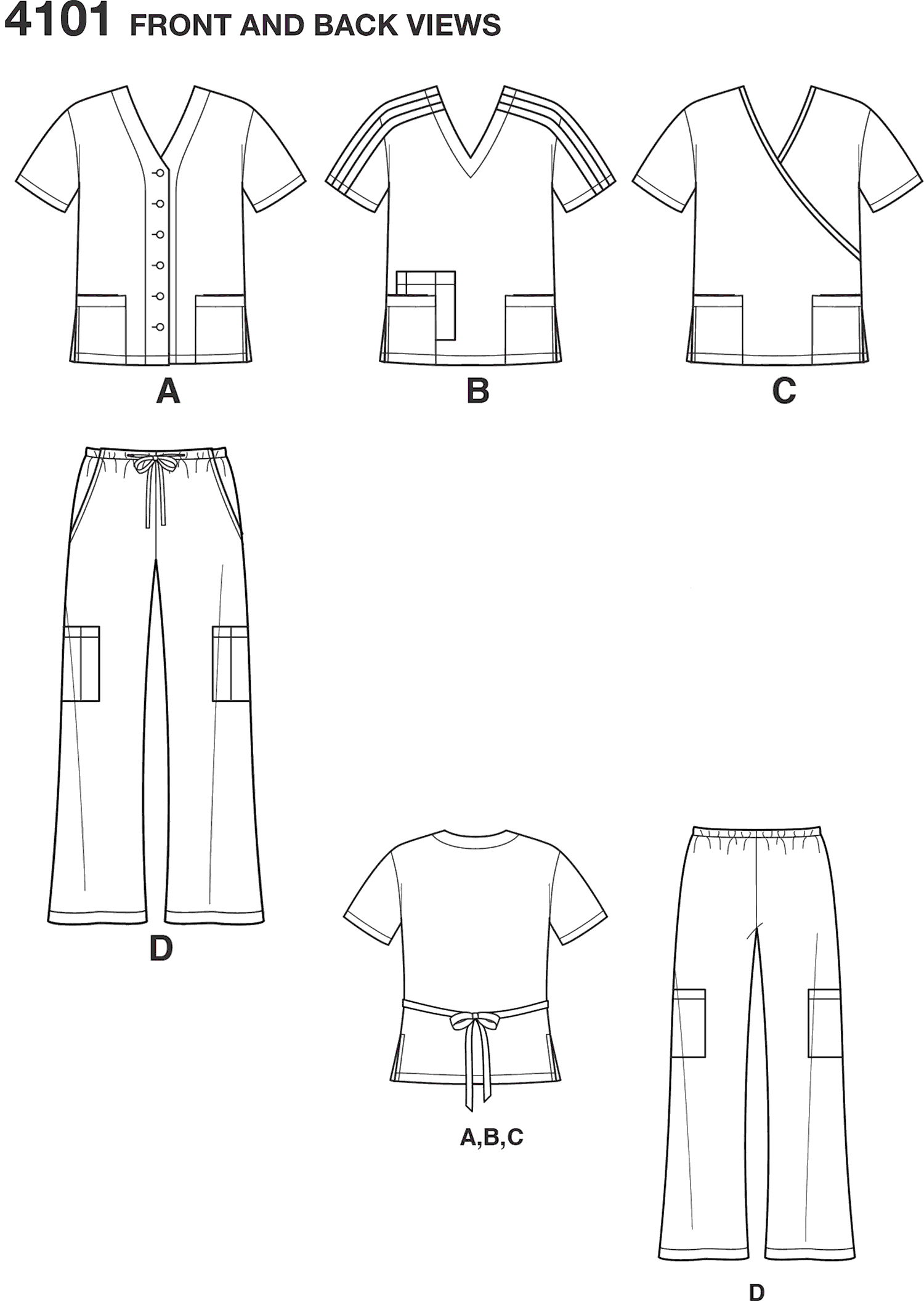 Simplicity Pattern 4101 Womens and Mens Plus Size Scrubs Line Art From Patternsandplains.com