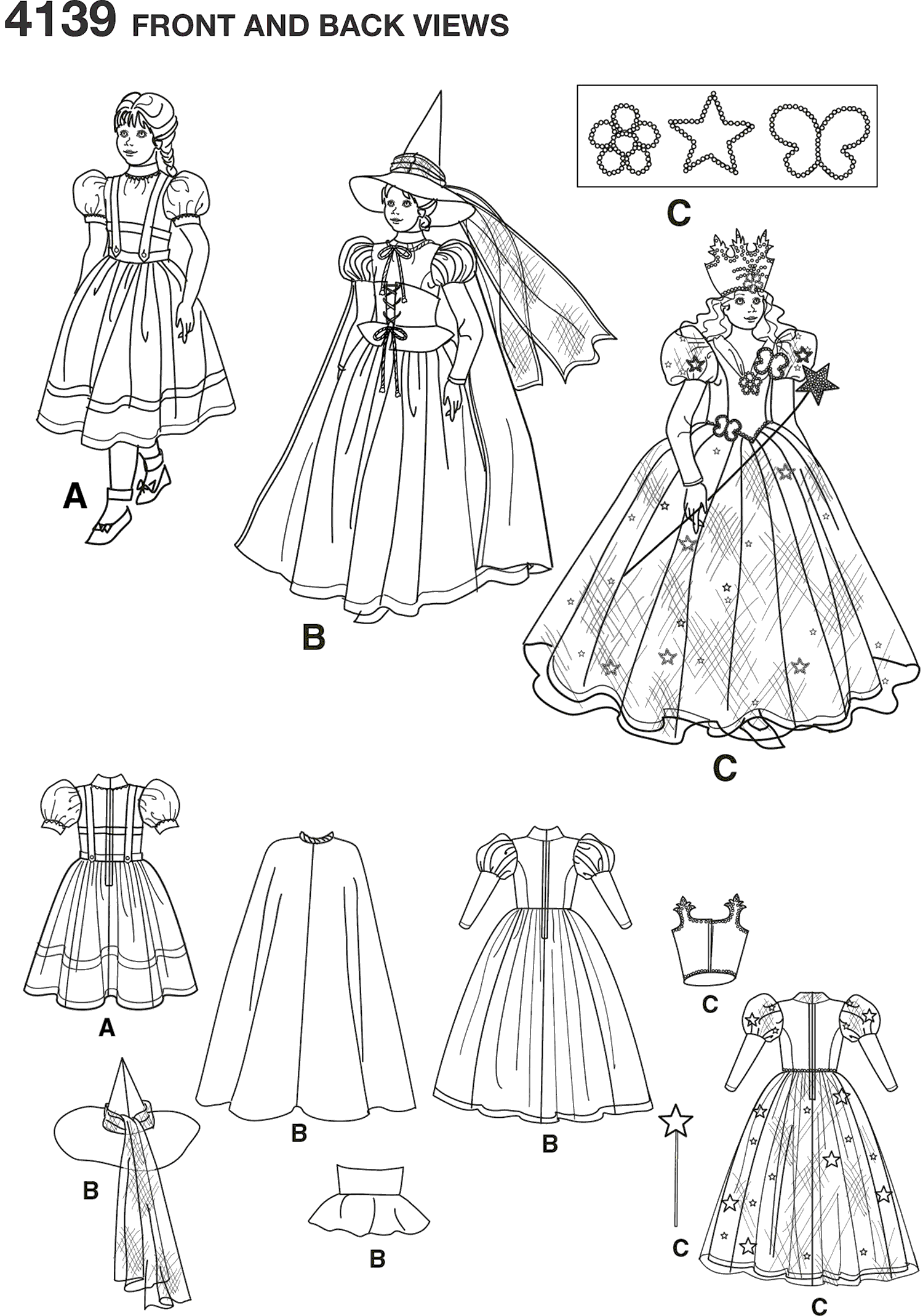 Simplicity Pattern 4139 Childs Costumes Line Art From Patternsandplains.com