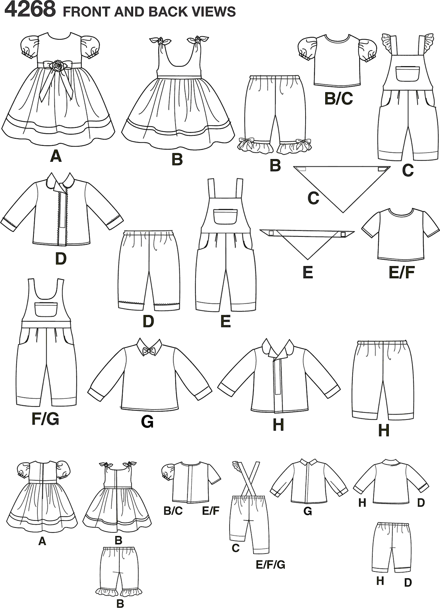 Simplicity Pattern 4268 Doll Clothes Line Art From Patternsandplains.com