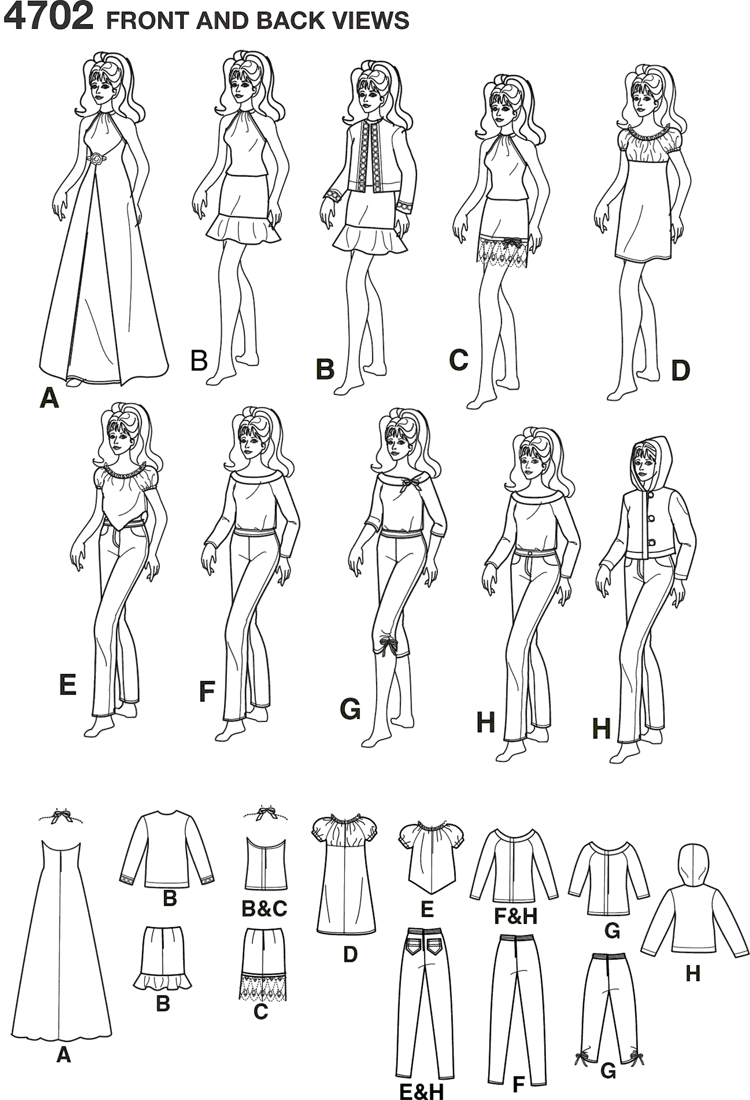 Simplicity Pattern 4702 Doll Clothes Line Art From Patternsandplains.com