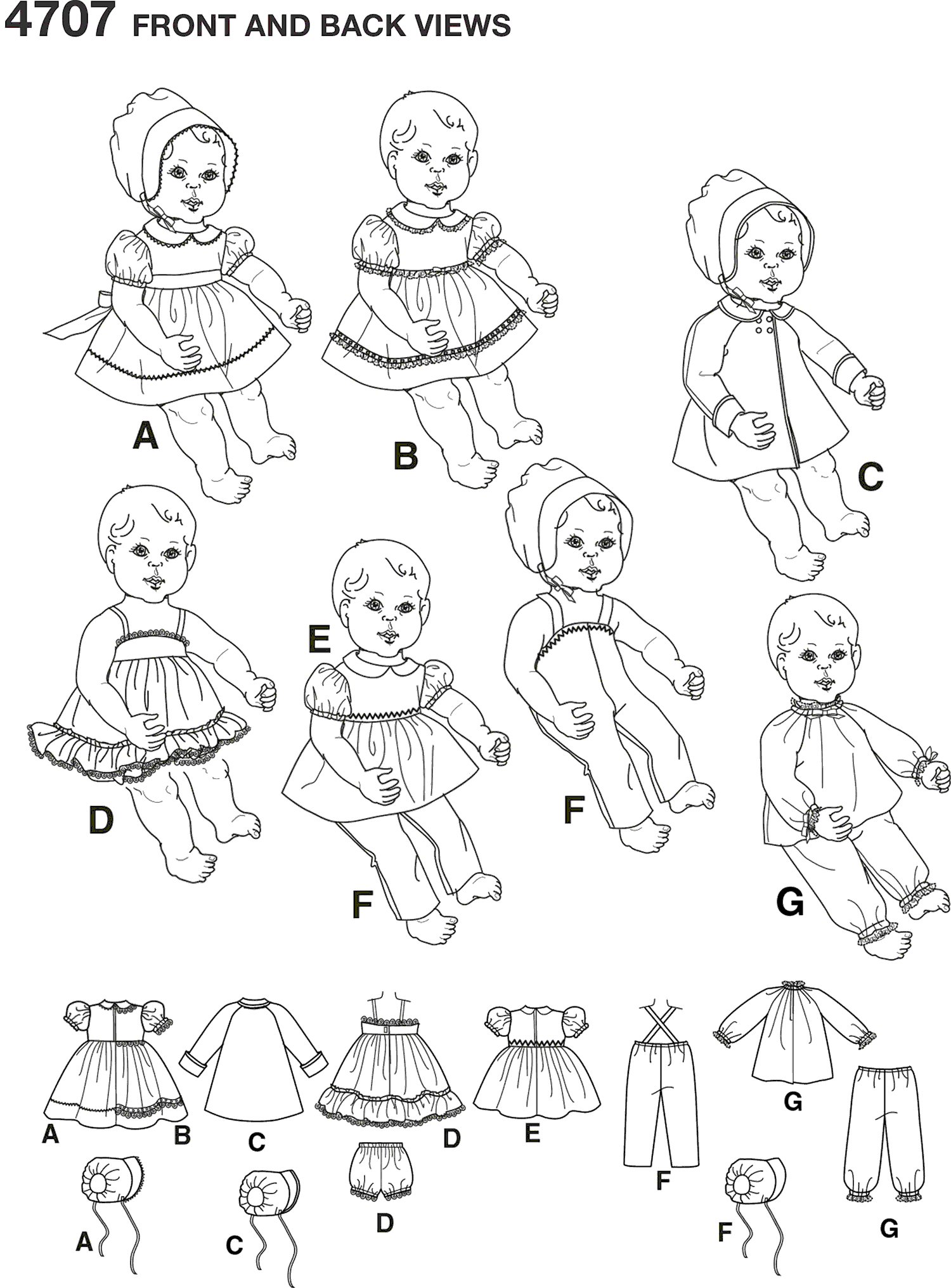 Simplicity Pattern 4707 Doll Clothes Line Art From Patternsandplains.com