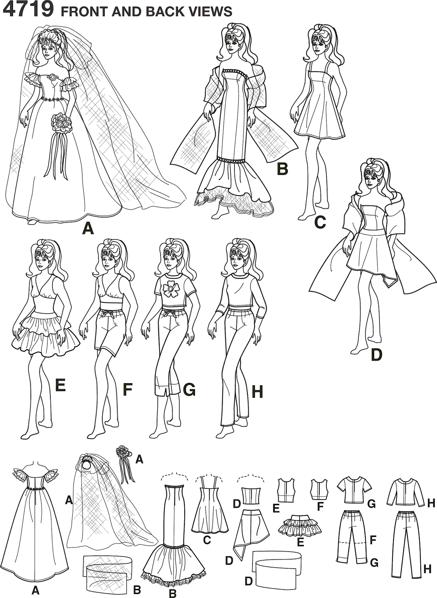 Simplicity Pattern 4719 Doll Clothes Line Art From Patternsandplains.com