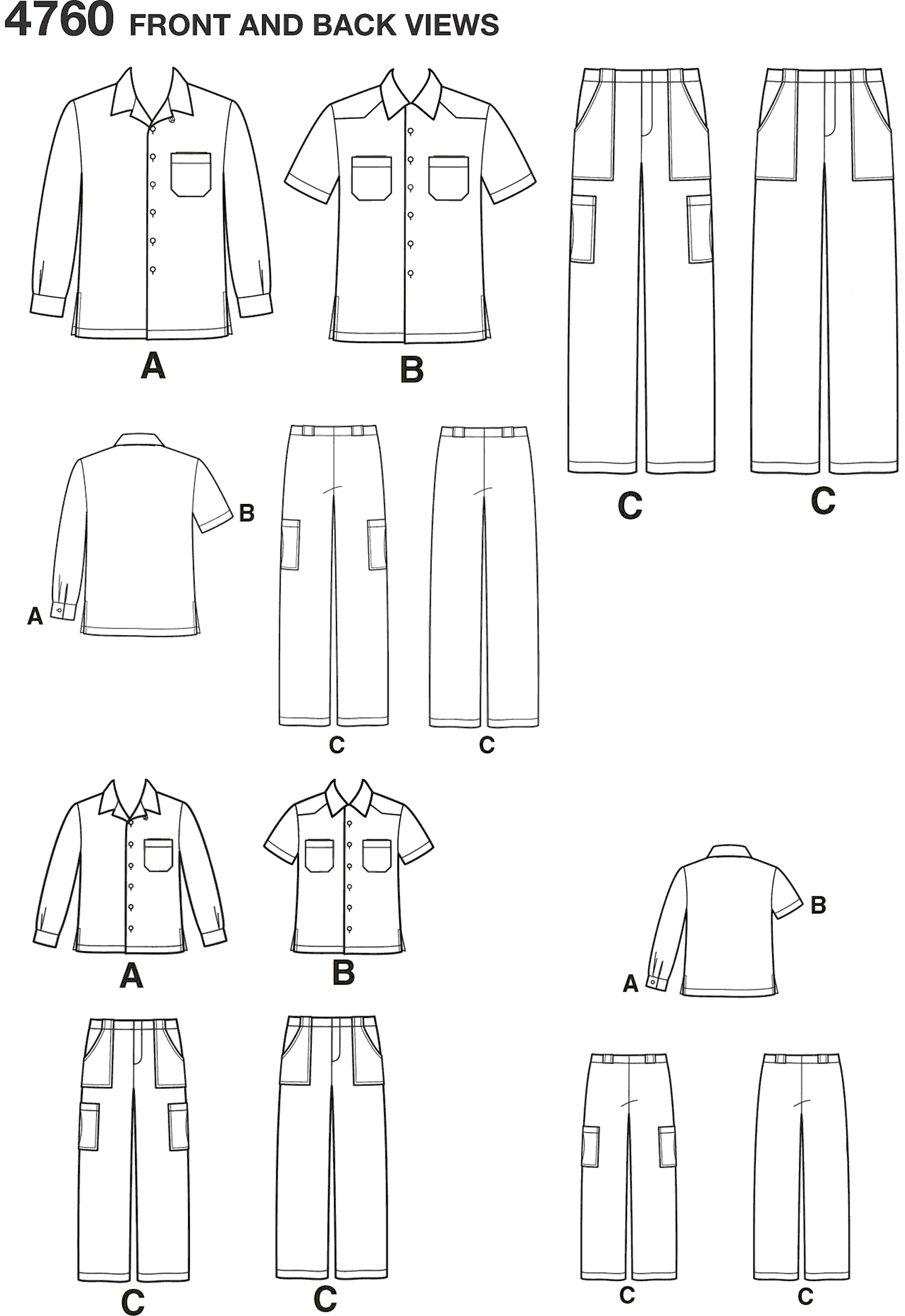 Simplicity Pattern 4760 Boys and Men Shirts and Trousers Line Art From Patternsandplains.com