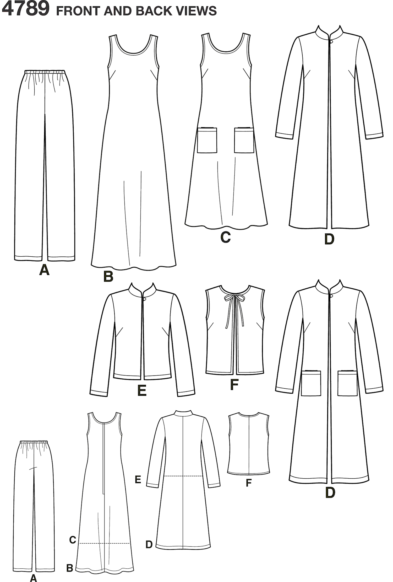 Simplicity Pattern 4789 Womens and Plus Size Smart and Casual Wear Line Art From Patternsandplains.com