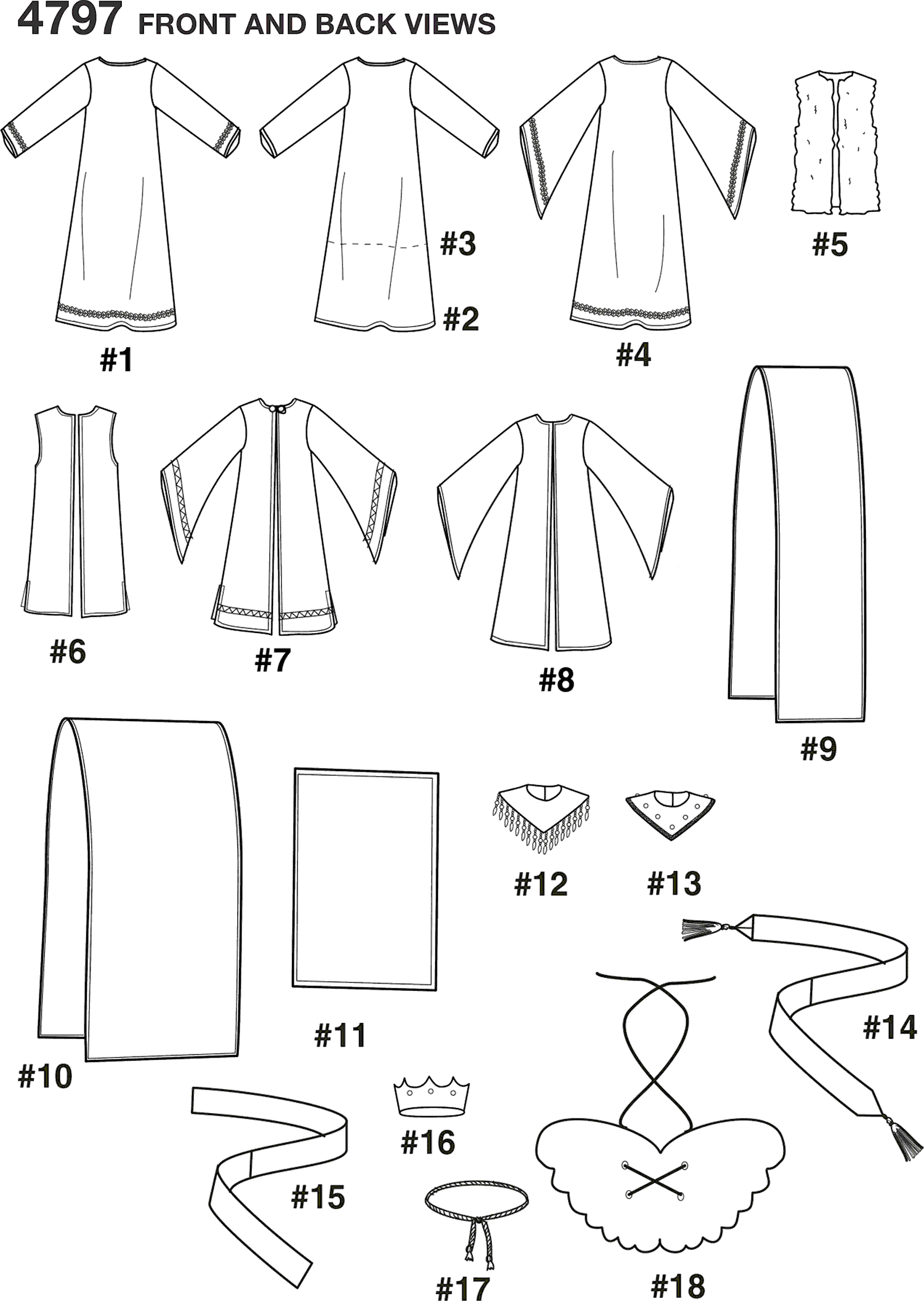 Simplicity Pattern 4797 Boy and Girl Costumes Line Art From Patternsandplains.com