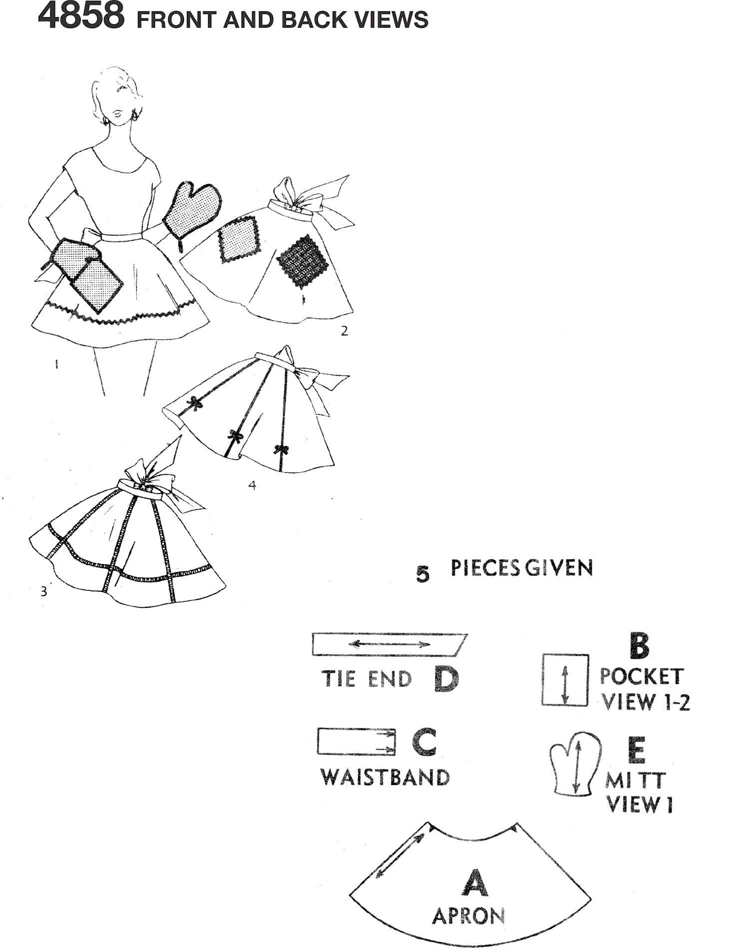 Simplicity Pattern 4858 One Size One Yard Vintage Apron Plus Mitts Line Art From Patternsandplains.com