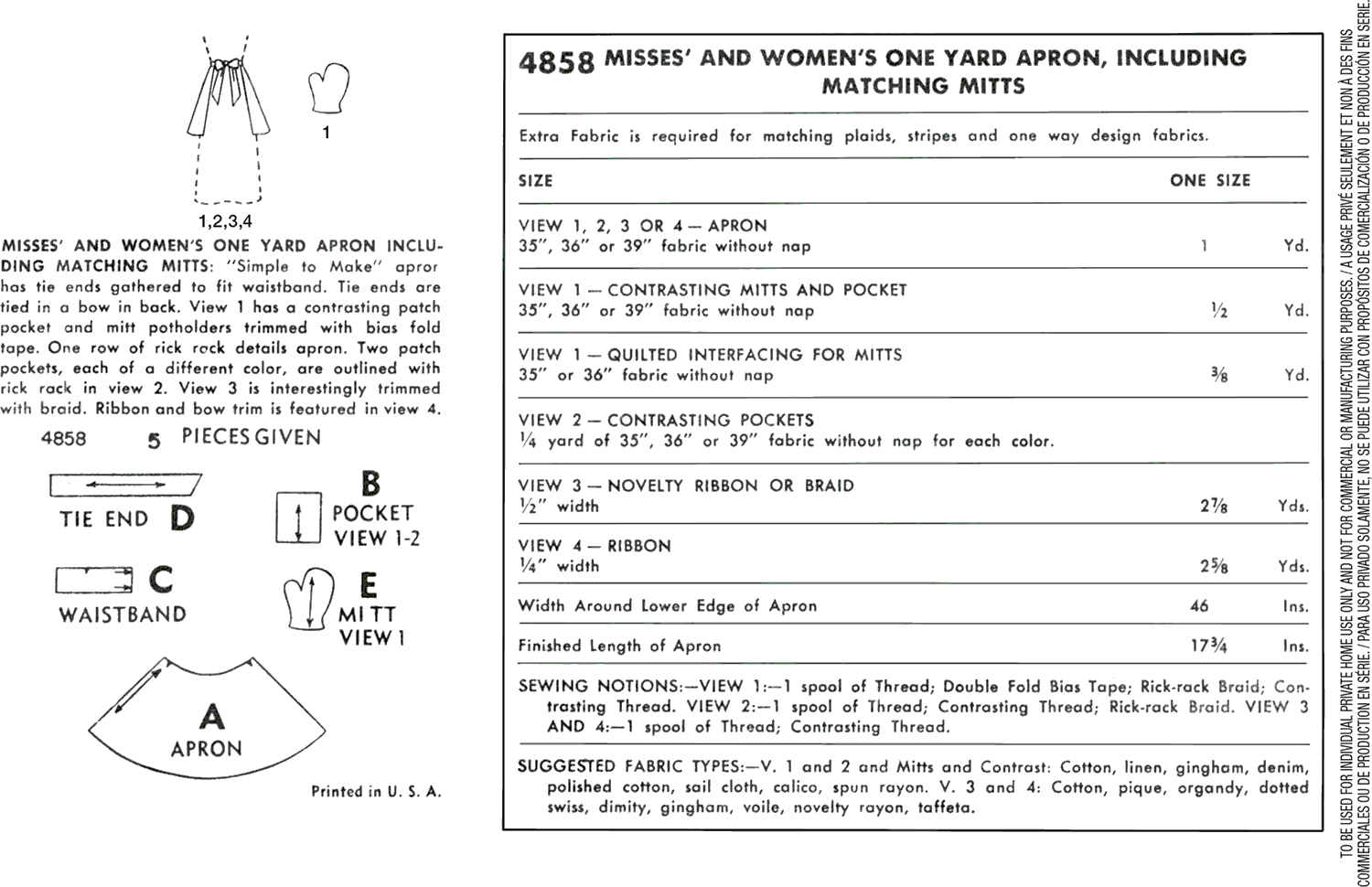 Simplicity Pattern 4858 One Size One Yard Vintage Apron Plus Mitts Fabric Quantity Requirements From Patternsandplains.com