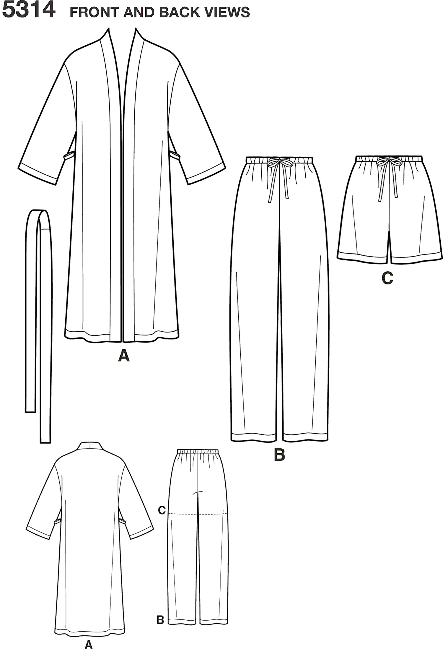 Simplicity Pattern 5314 Womens and Mens Plus Size Sleepwear Line Art From Patternsandplains.com