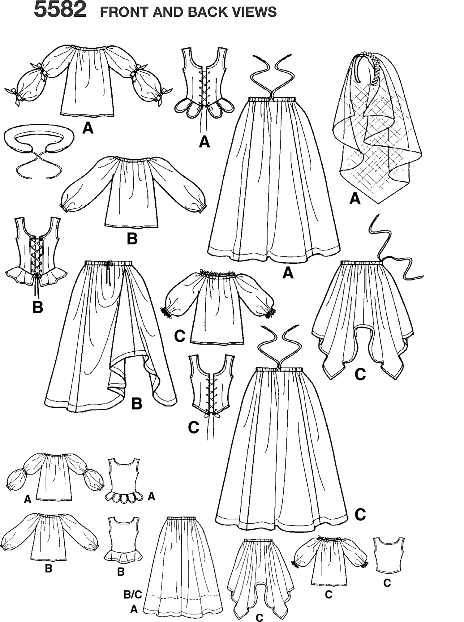 Simplicity Pattern 5582 Womens Costumes Line Art From Patternsandplains.com