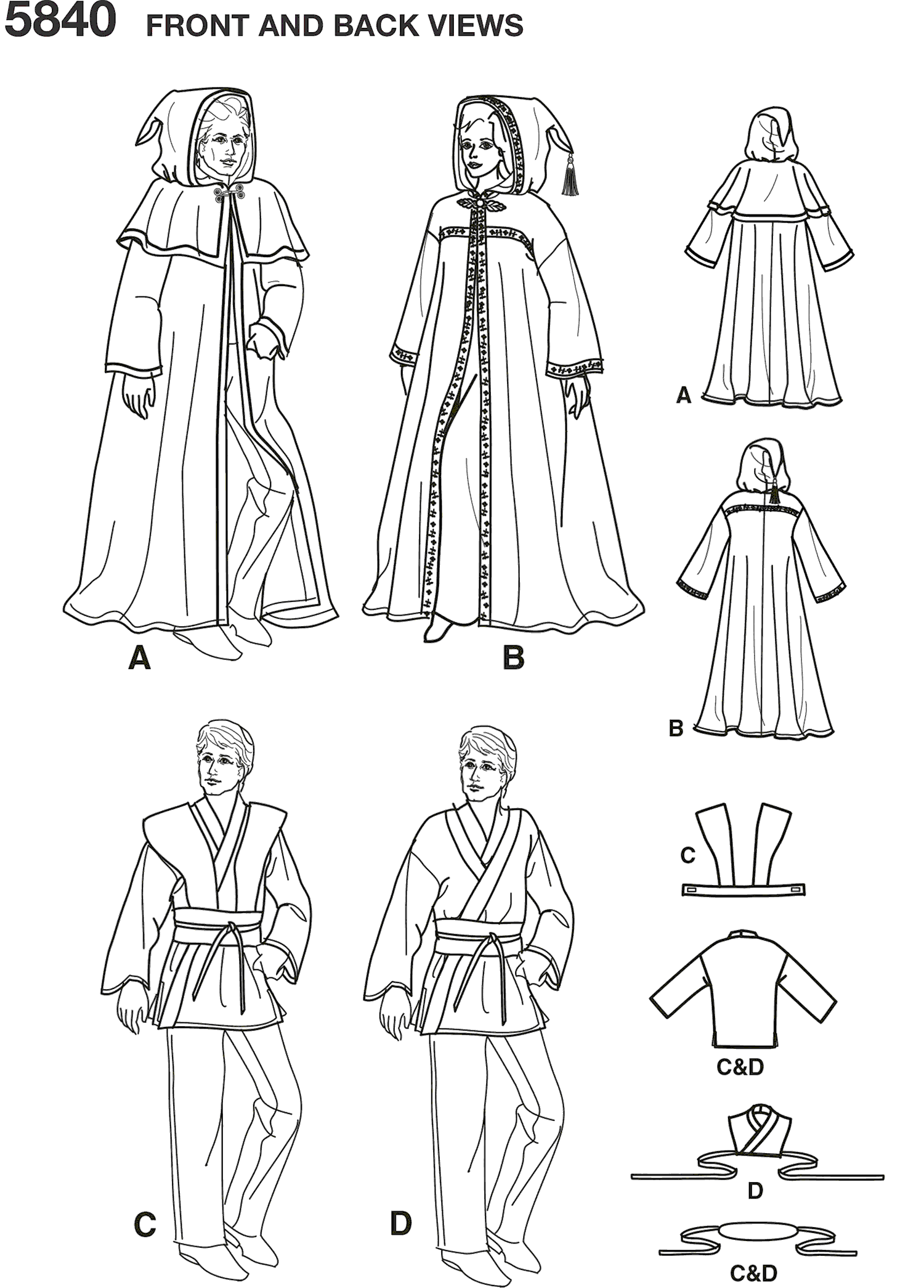 Simplicity Pattern 5840 Womens Men and Teen Costumes Line Art From Patternsandplains.com