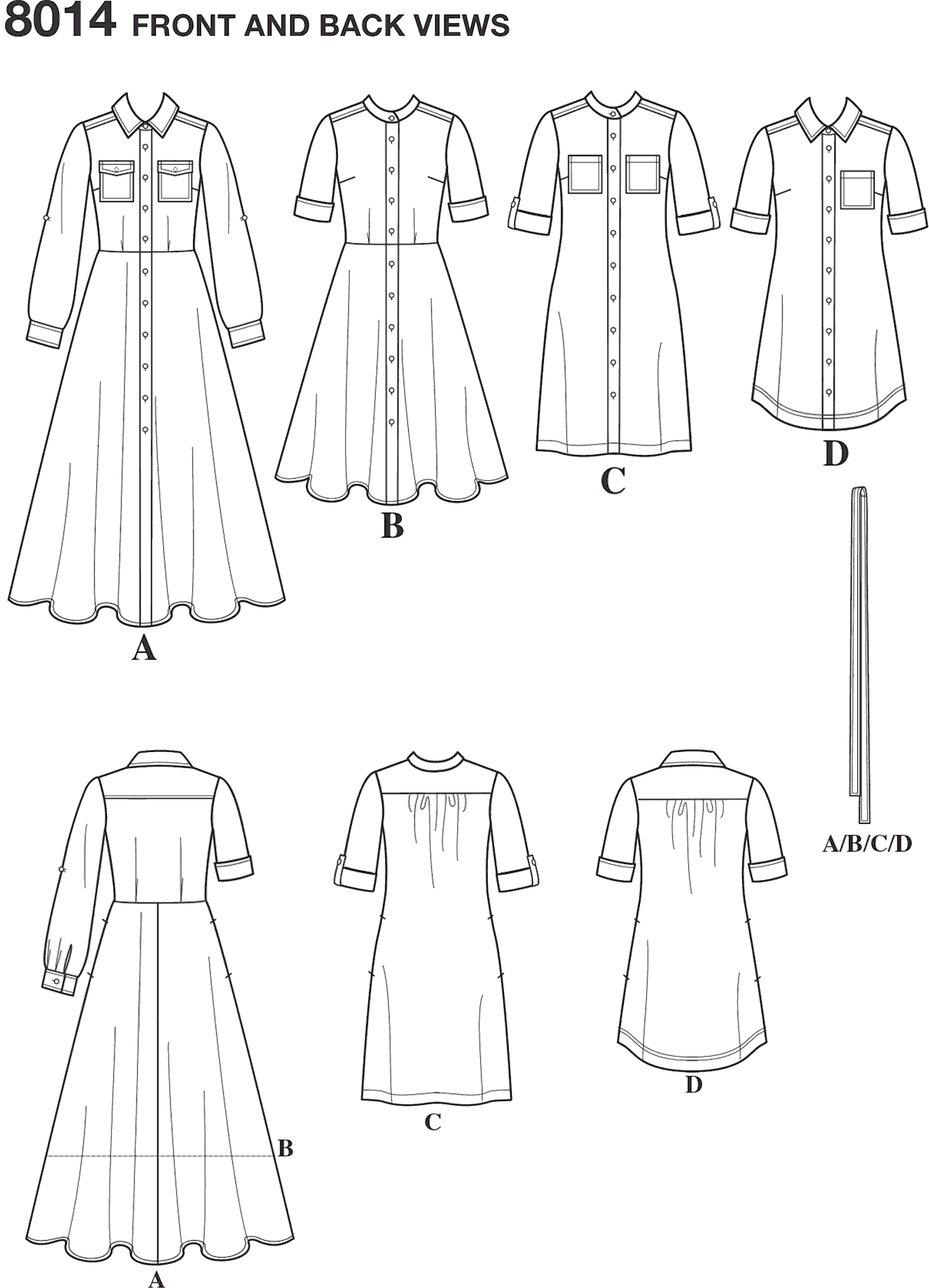 Simplicity Pattern 8014 Womens Shirt Dress Line Art From Patternsandplains.com