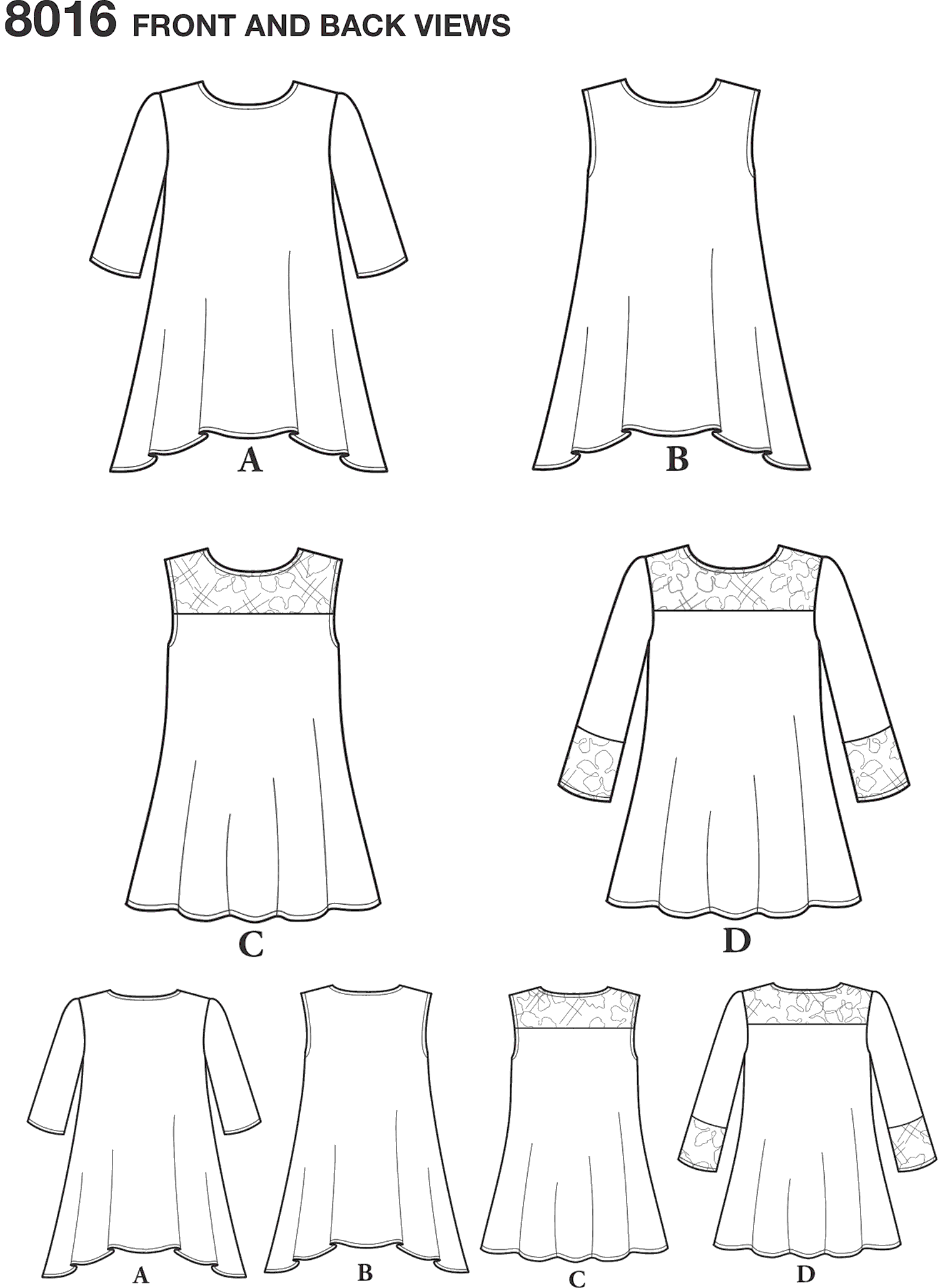 Simplicity Pattern 8016 Womens Knit Tops with Lace Variations Line Art From Patternsandplains.com