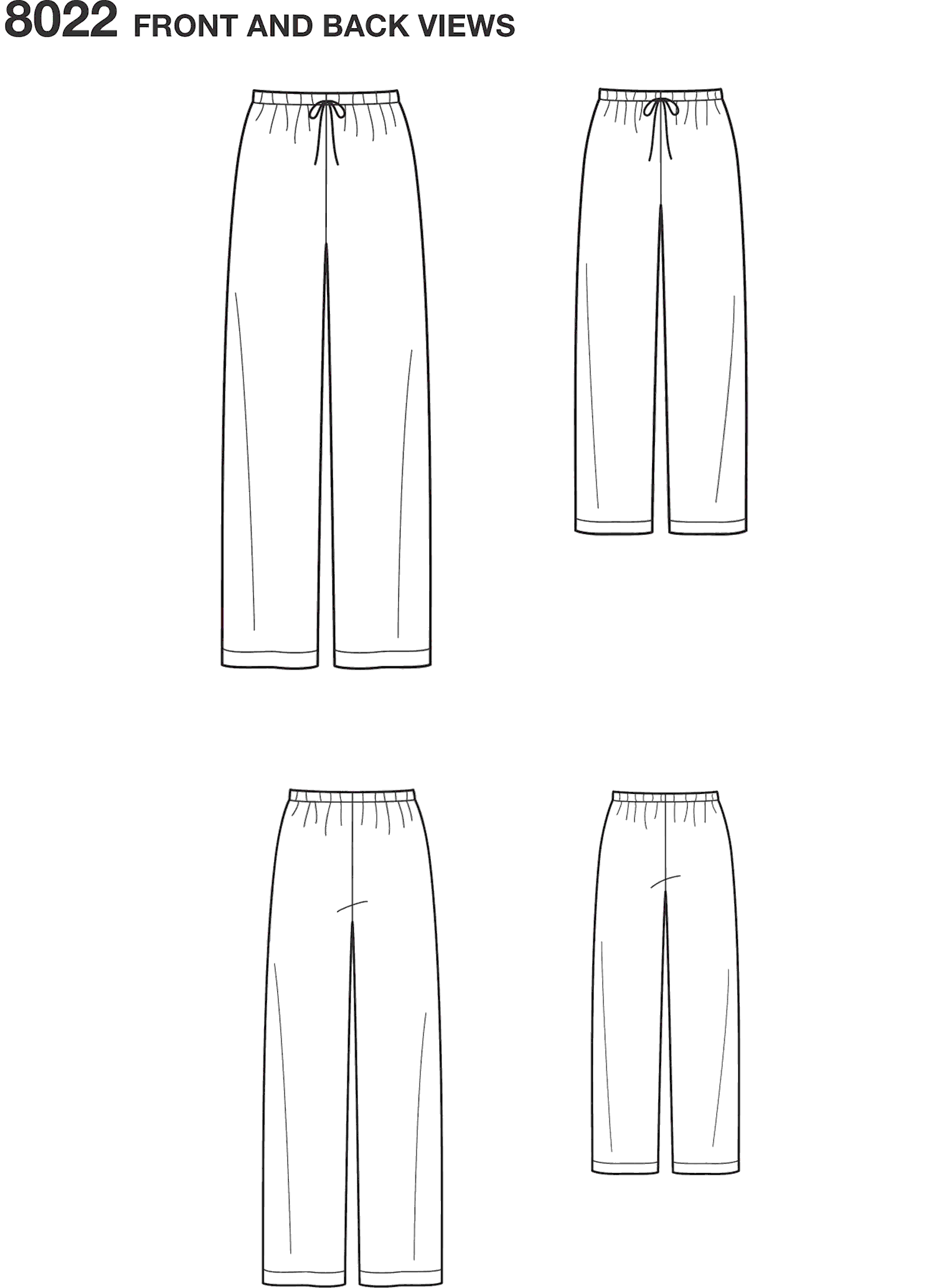 Simplicity Pattern 8022 Childs Teens and Adults Trousers Line Art From Patternsandplains.com