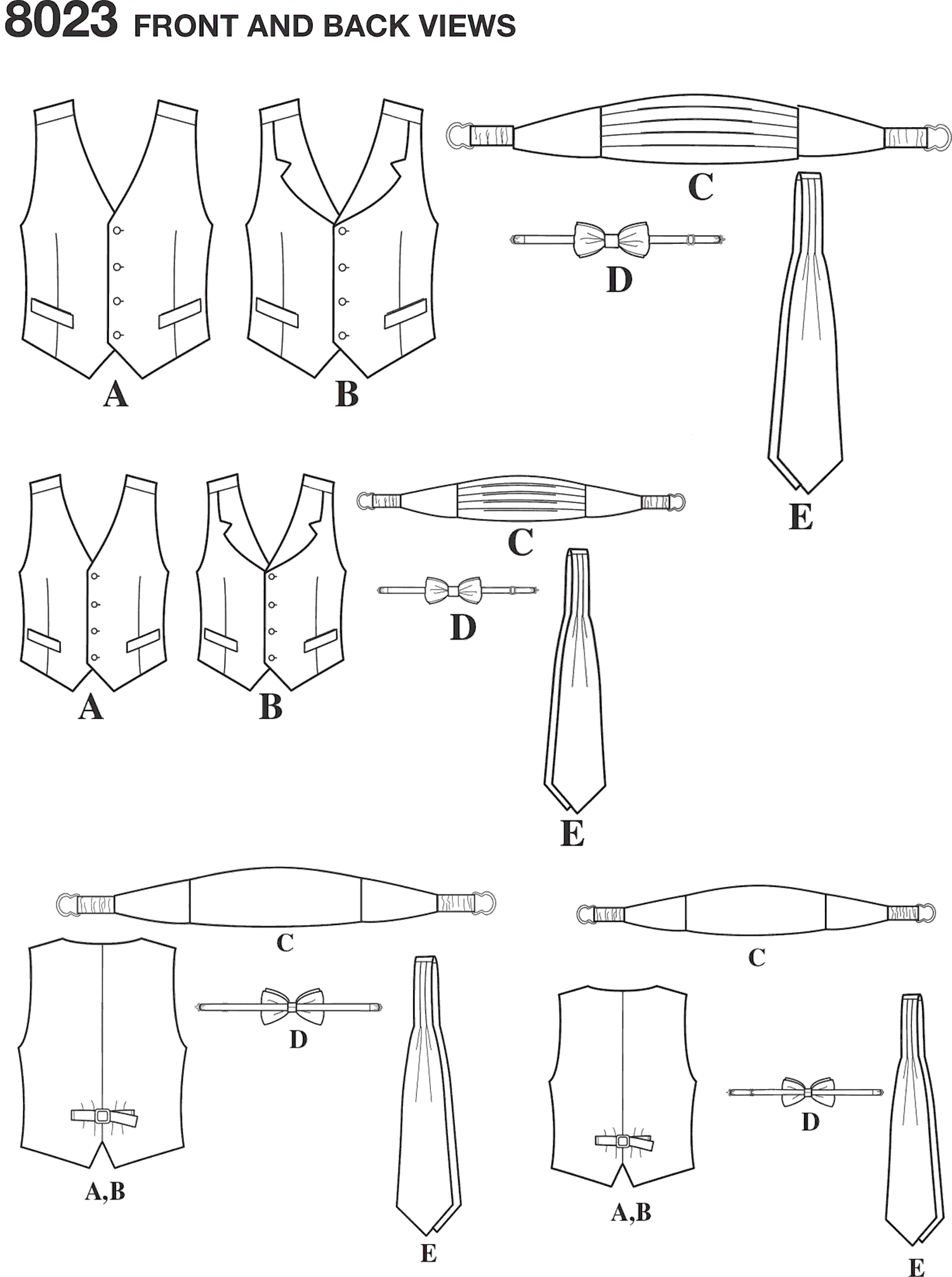 Simplicity Pattern 8023 Boys and Mens Vest Bow tie Cummerbund and Ascot Line Art From Patternsandplains.com