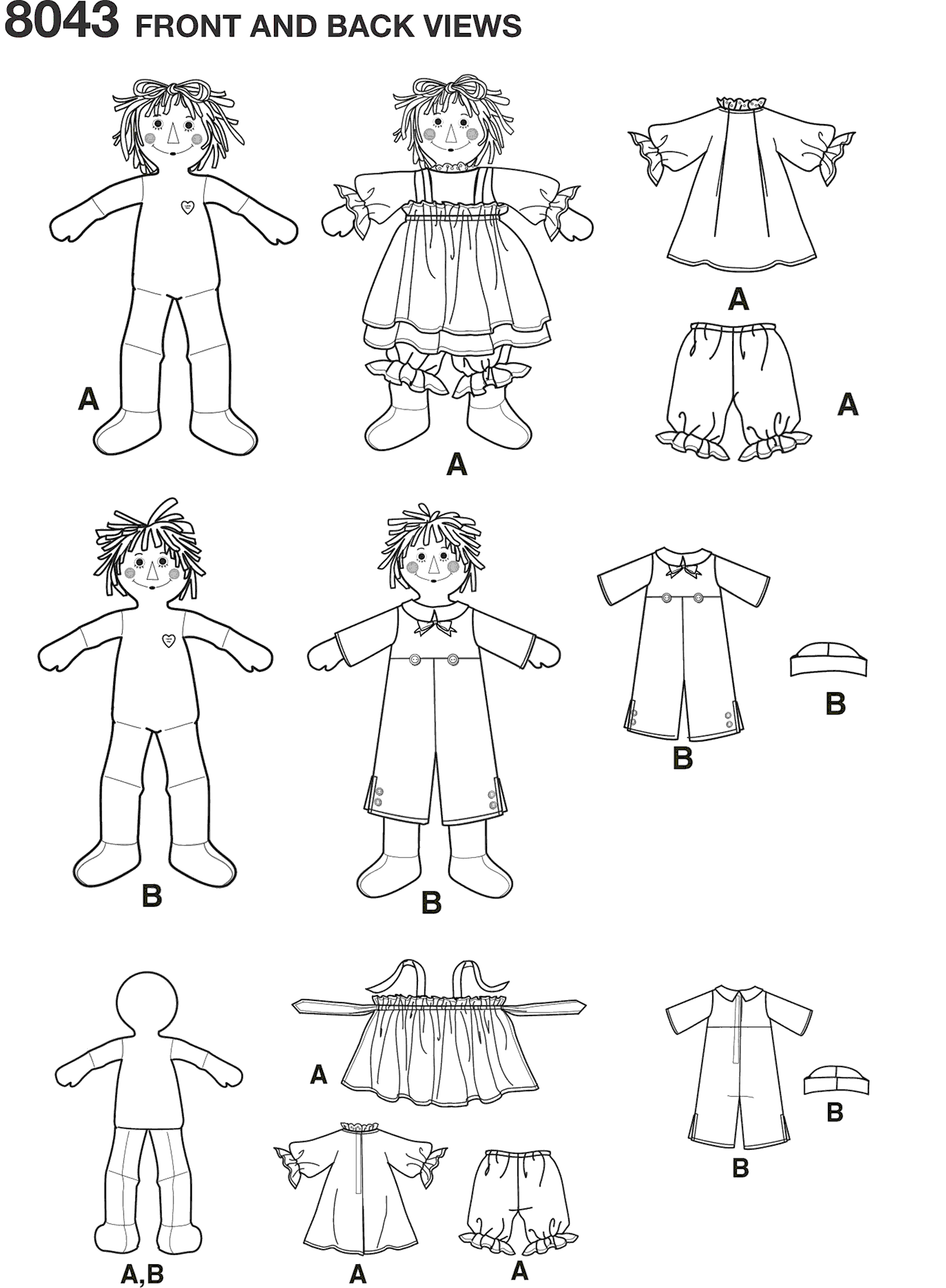Simplicity Pattern 8043 Raggedy Ann and Andy Dolls Line Art From Patternsandplains.com