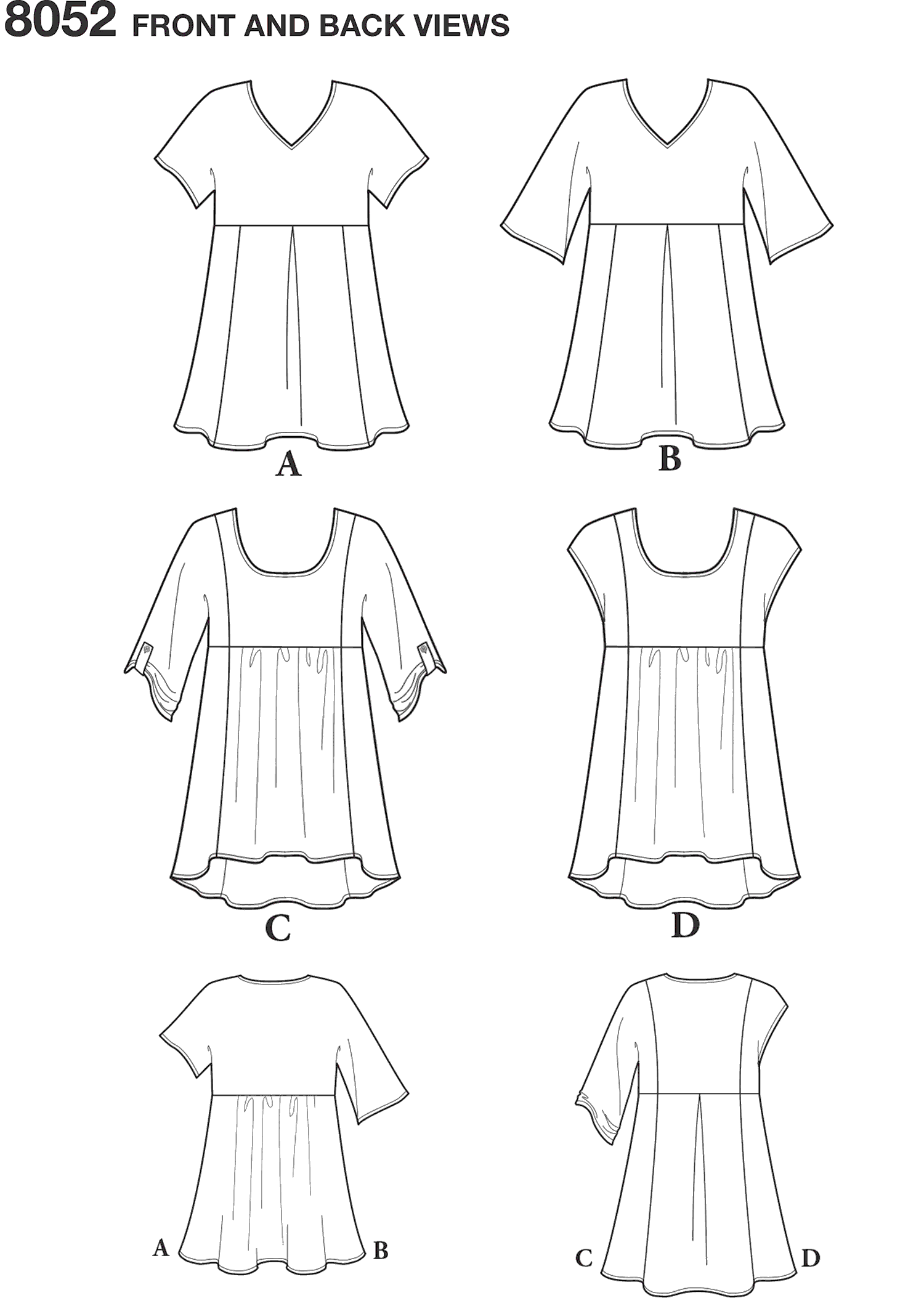 Simplicity Pattern 8052 Womens Easy to Sew Tops Line Art From Patternsandplains.com