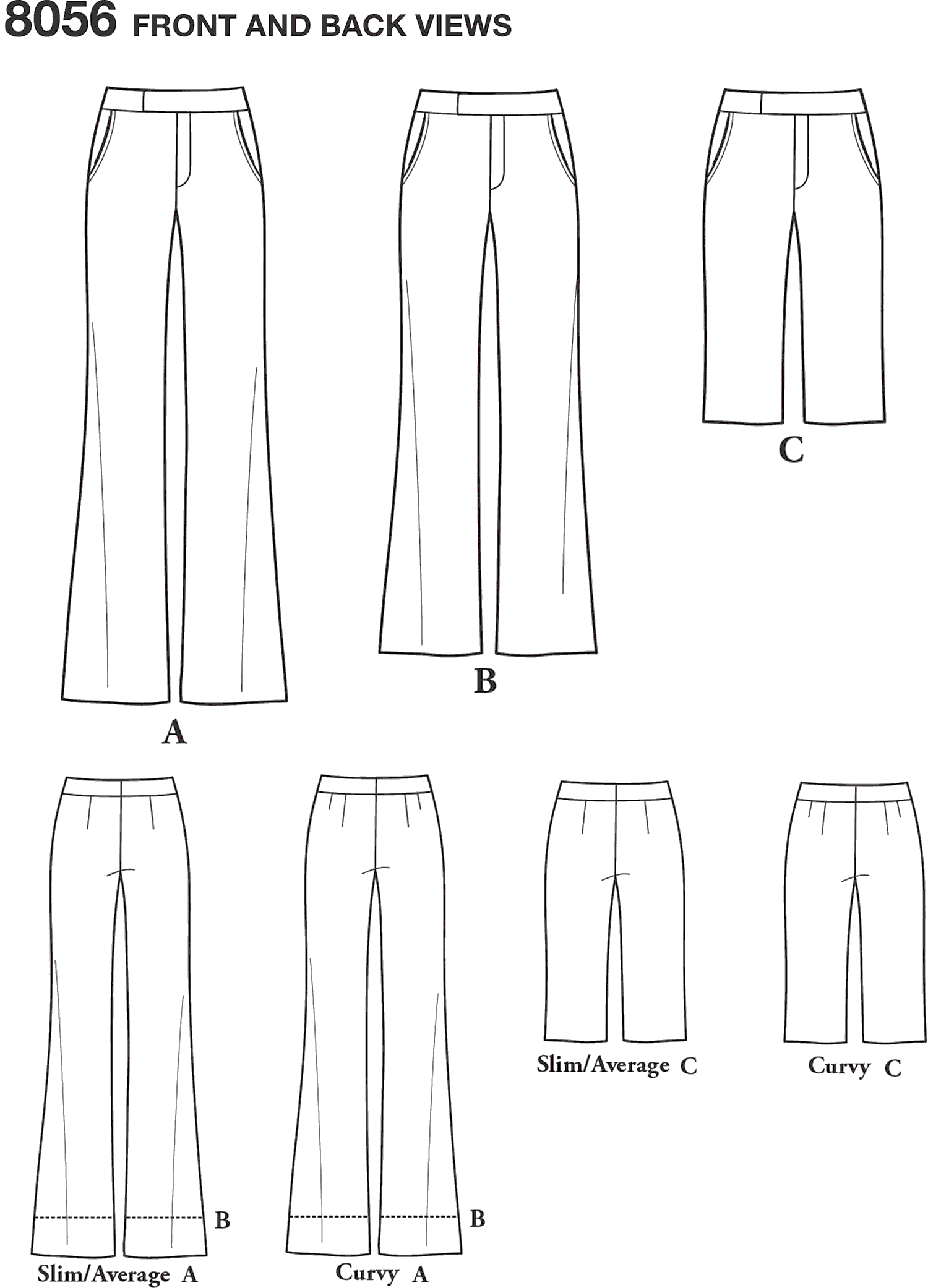 Simplicity Pattern 8056 Amazing Fit Womens and Plus Size Flared Trousers or Shorts Line Art From Patternsandplains.com