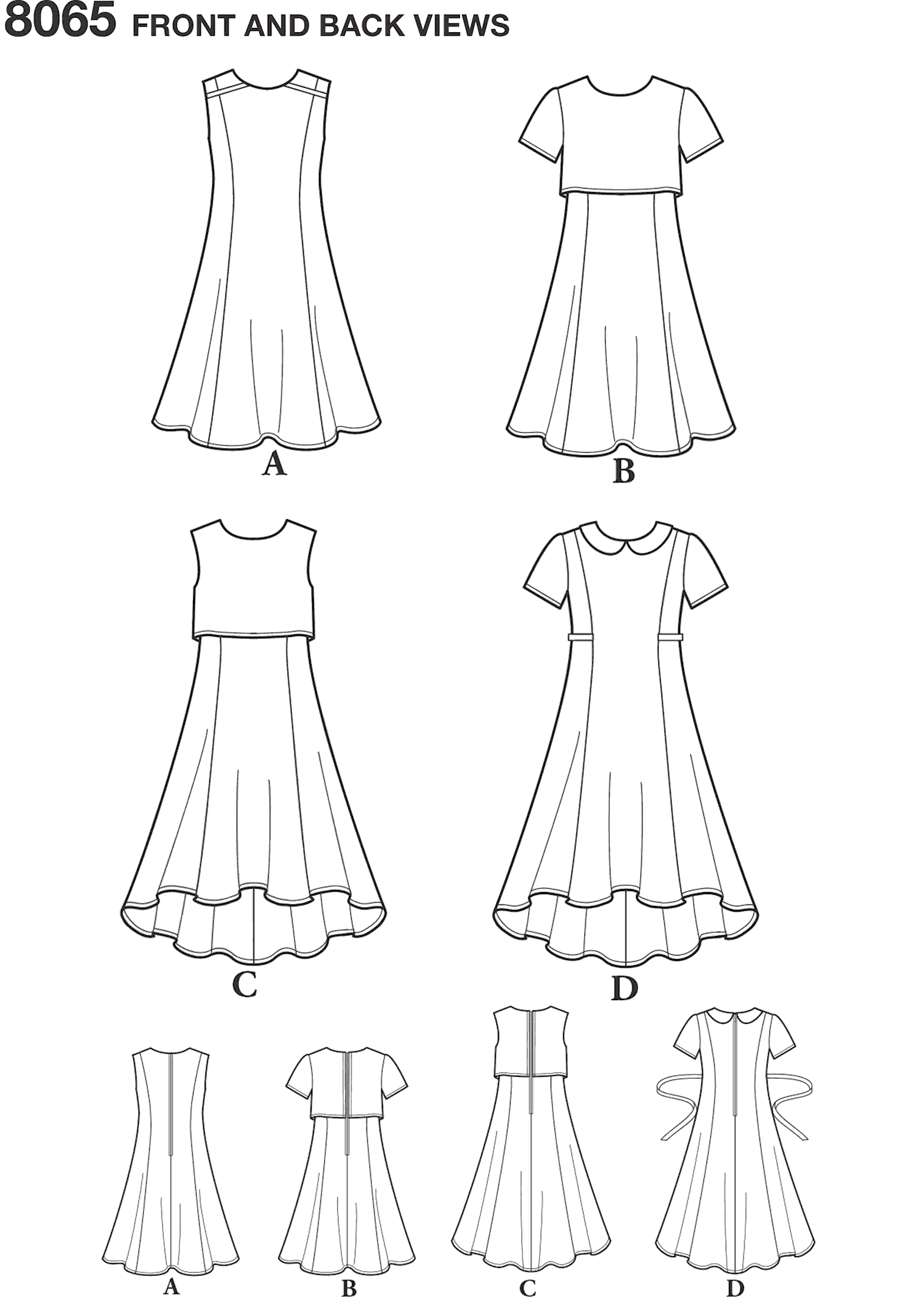 Simplicity Pattern 8065 Girls and Girls Plus Dress or Popover Dress Line Art From Patternsandplains.com