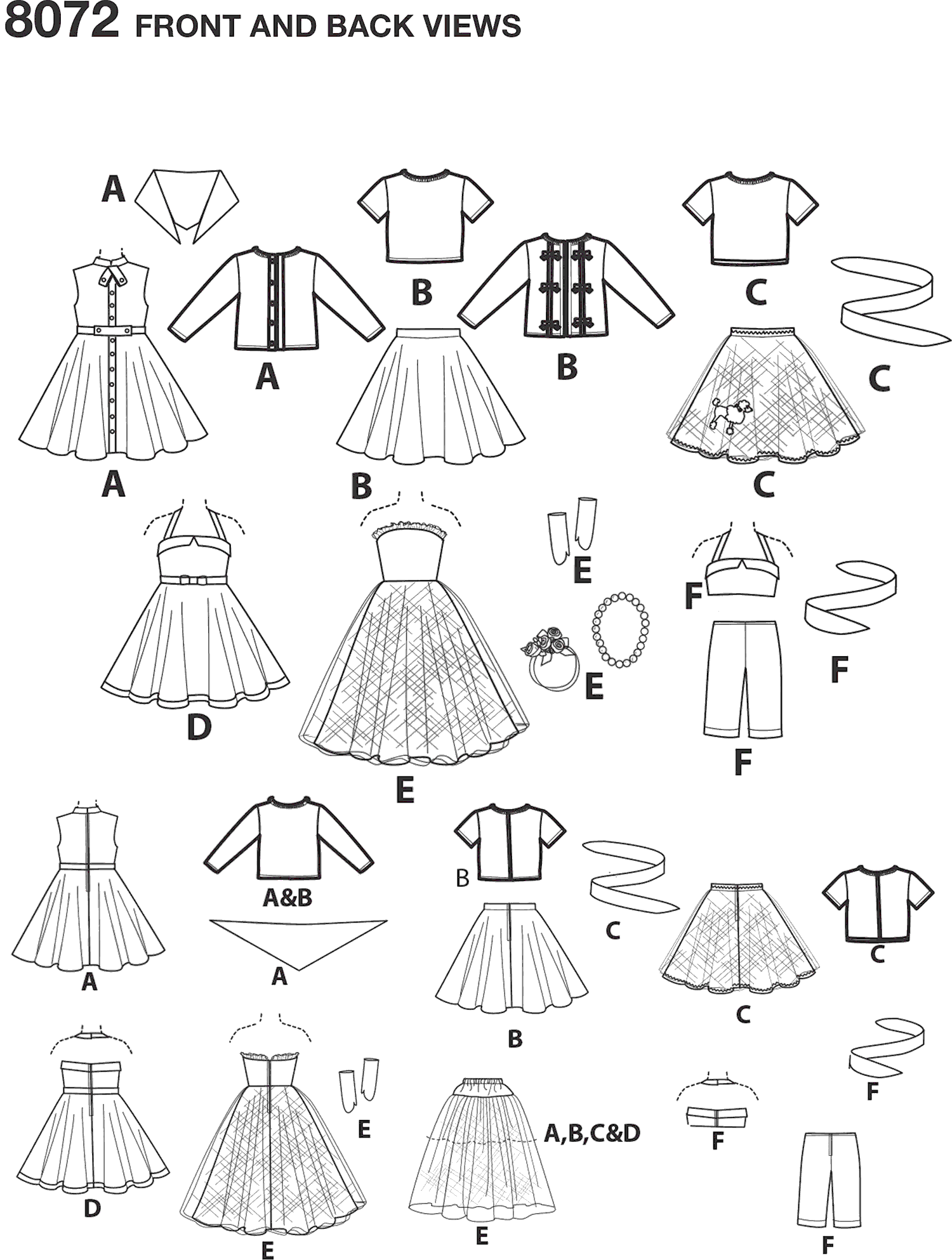 Simplicity Pattern 8072 Vintage Inspired 18 Doll Clothes Line Art From Patternsandplains.com