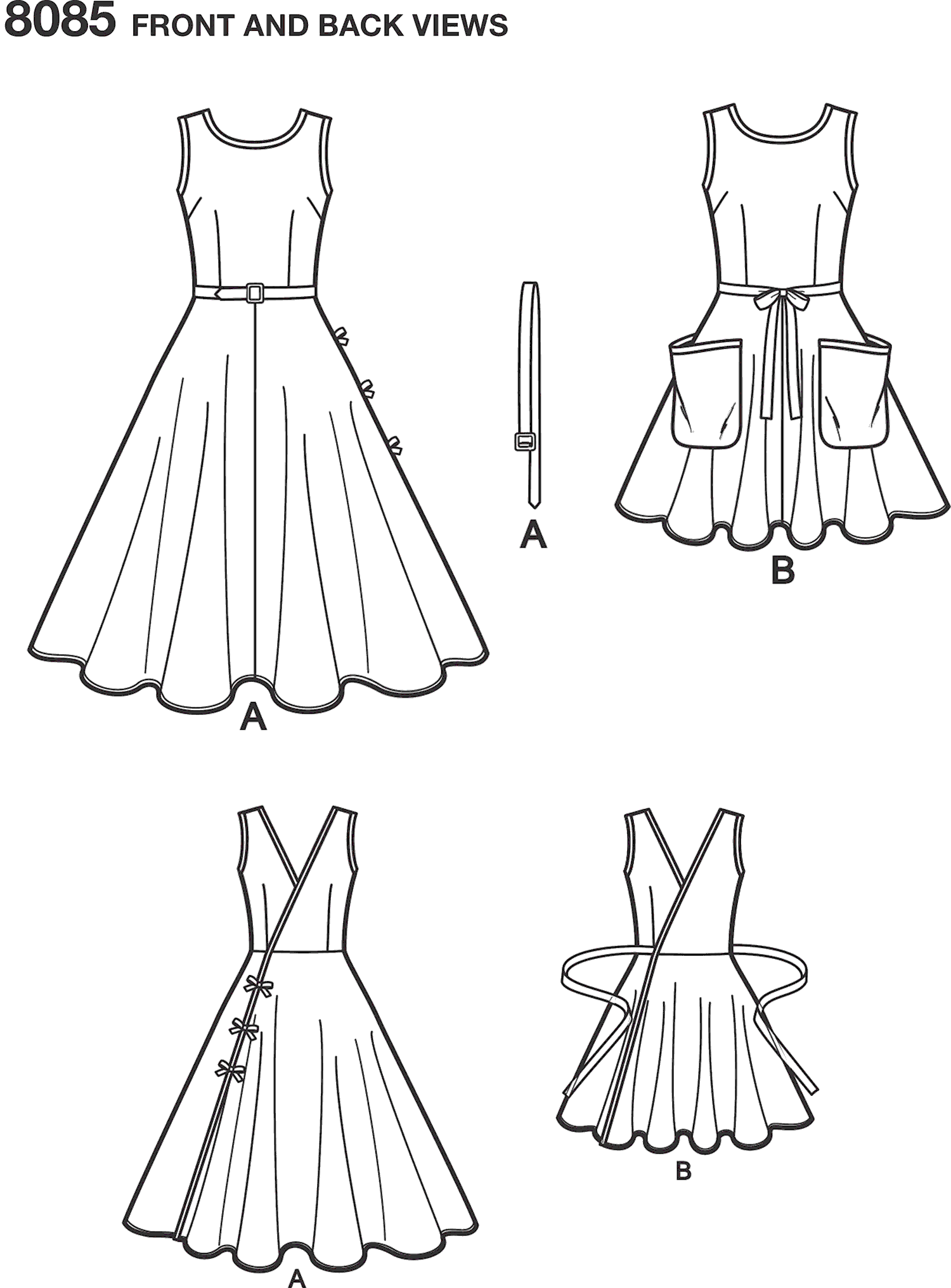 Simplicity Pattern 8085 Womens Vintage 1950s Wrap Dress in Two Lengths Line Art From Patternsandplains.com