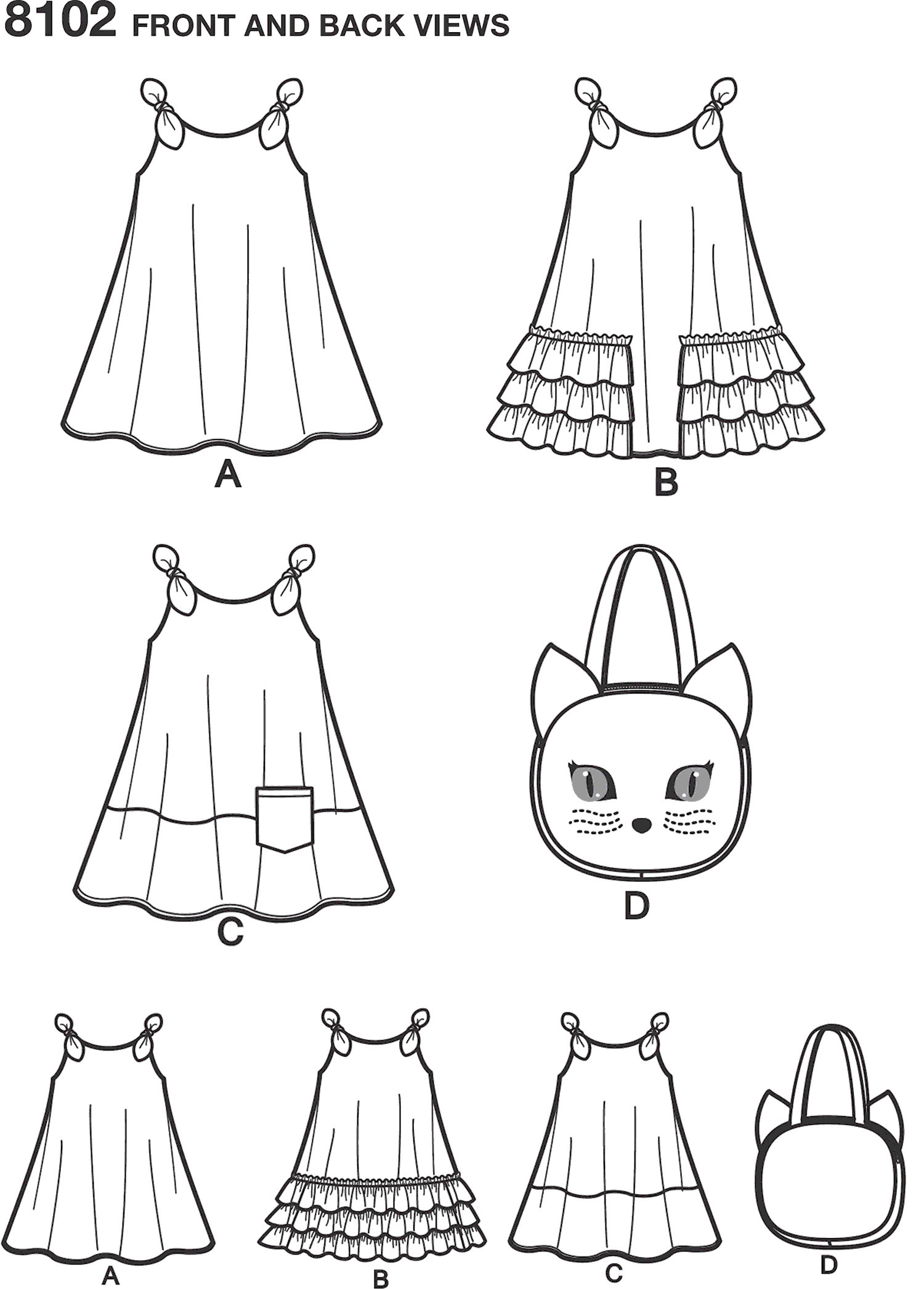 Simplicity Pattern 8102 Childs Easy to Sew Sundress and Kitty Tote Line Art From Patternsandplains.com
