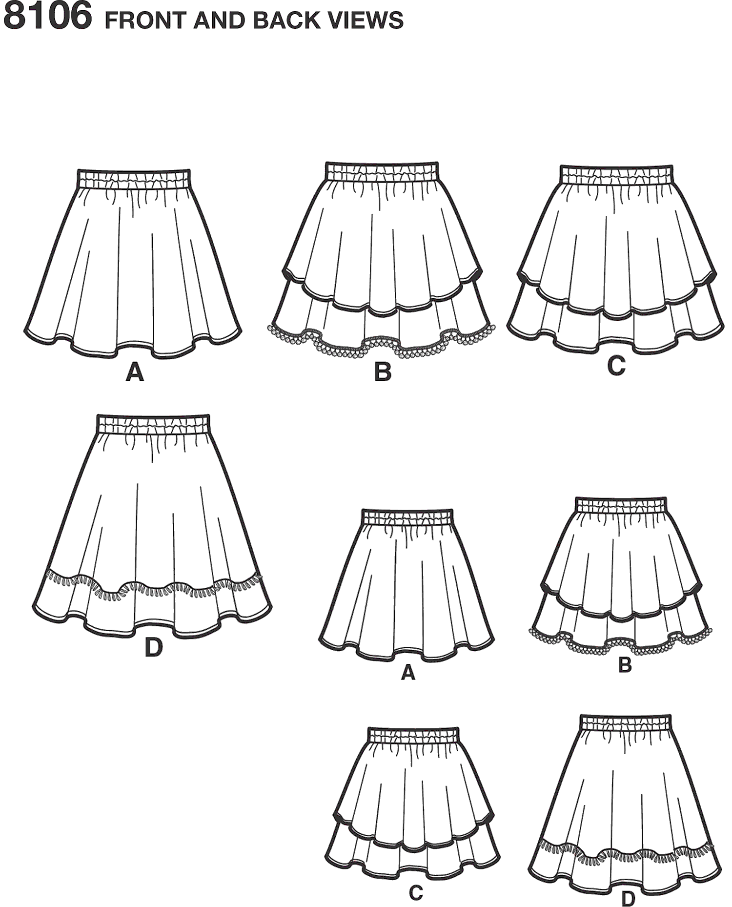 Simplicity Pattern 8106 Learn To Sew Skirts for Girls and Girls Plus Line Art From Patternsandplains.com