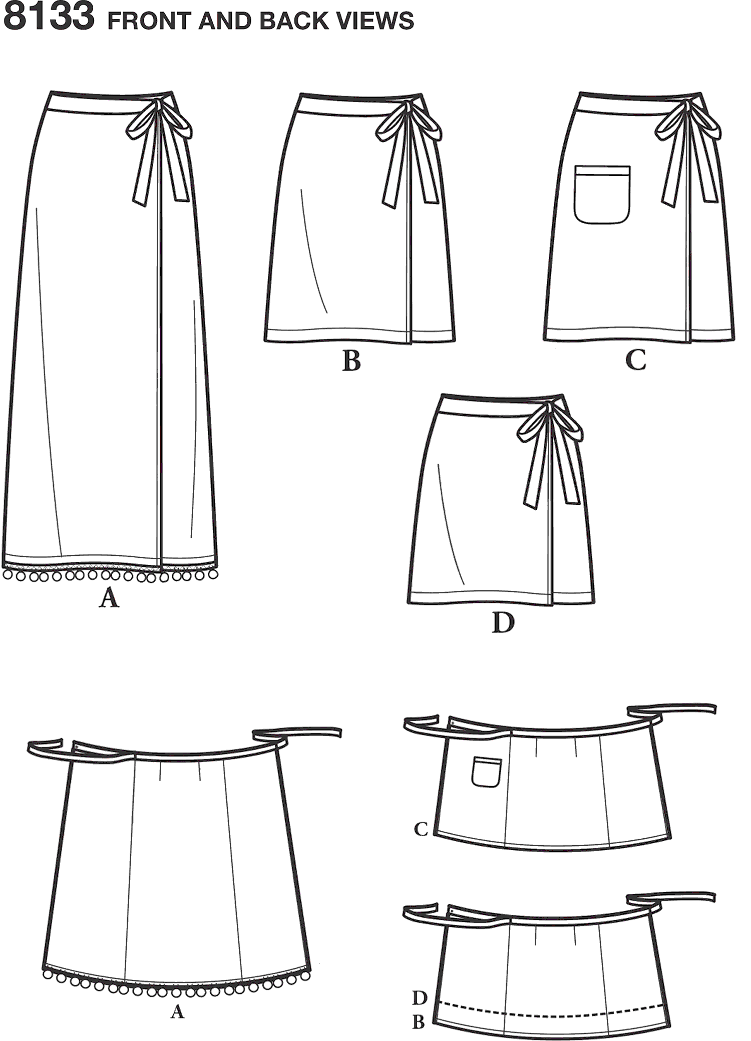 Simplicity Pattern 8133 Womens Learn to Sew Wrap Skirts Line Art From Patternsandplains.com