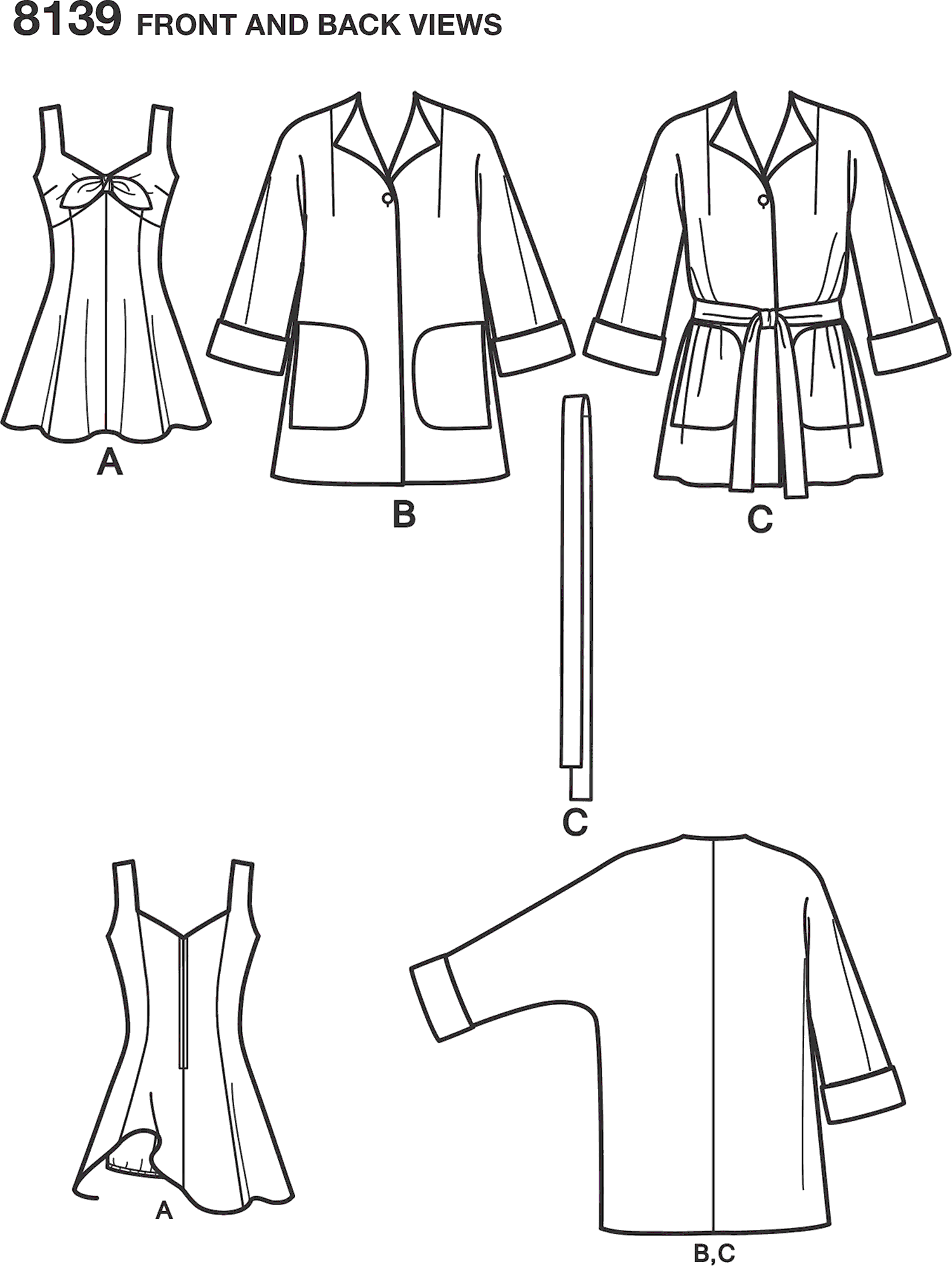 Simplicity Pattern 8139 Womens Vintage Bathing Dress and Beach Coat Line Art From Patternsandplains.com