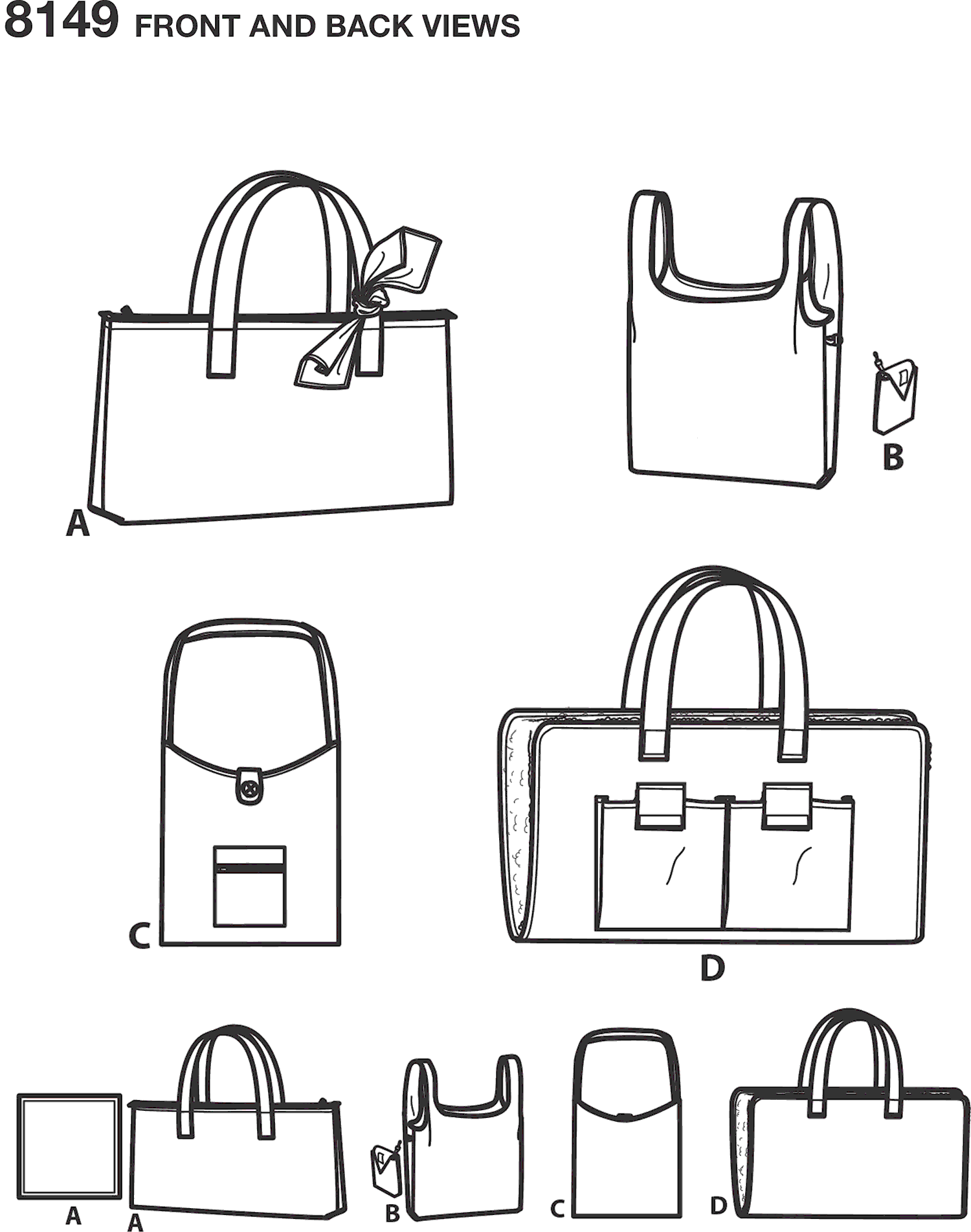 Simplicity Pattern 8149 Totes and Dog Travel Bed Line Art From Patternsandplains.com