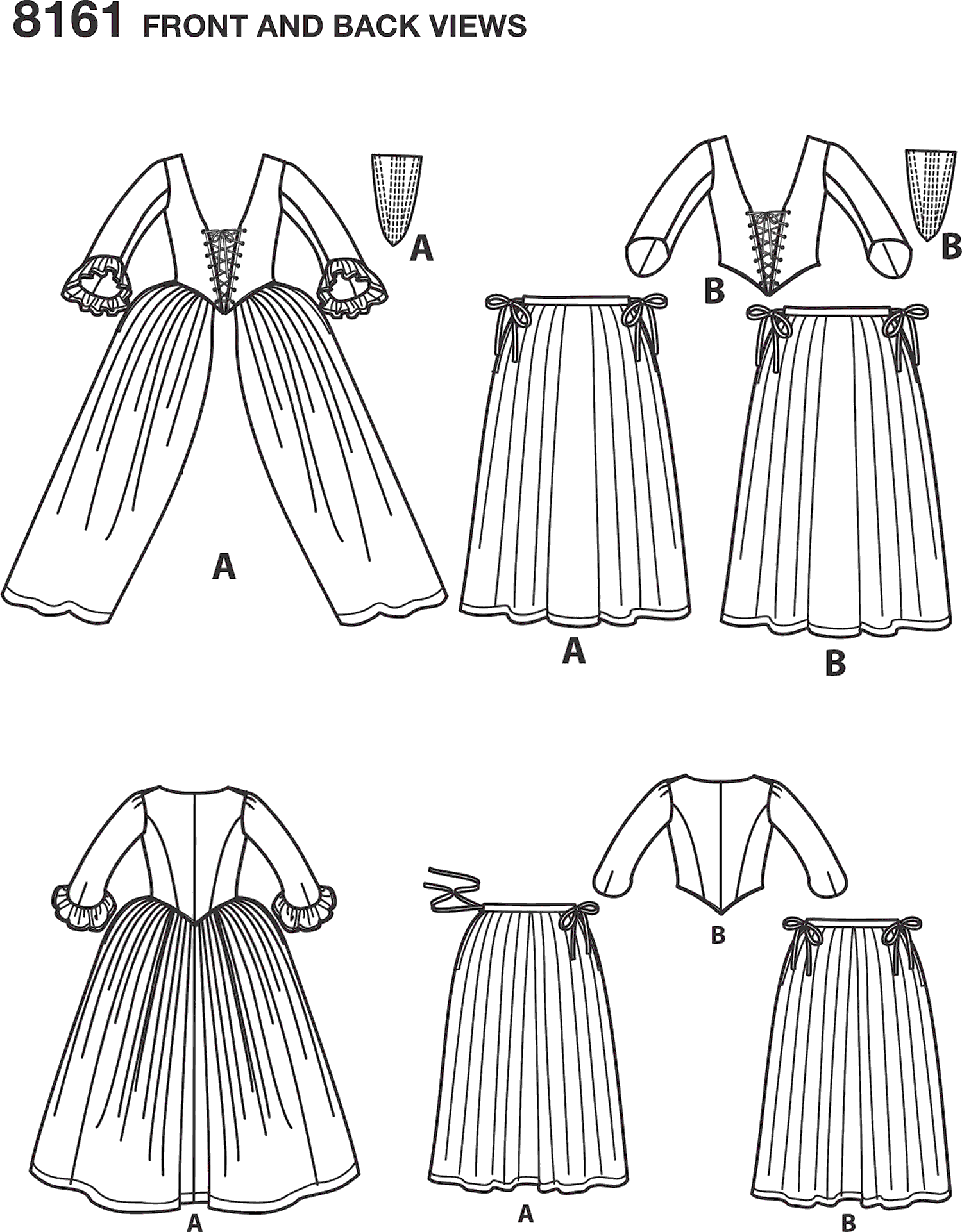 Simplicity Pattern 8161 Womens 18th Century Costumes Line Art From Patternsandplains.com