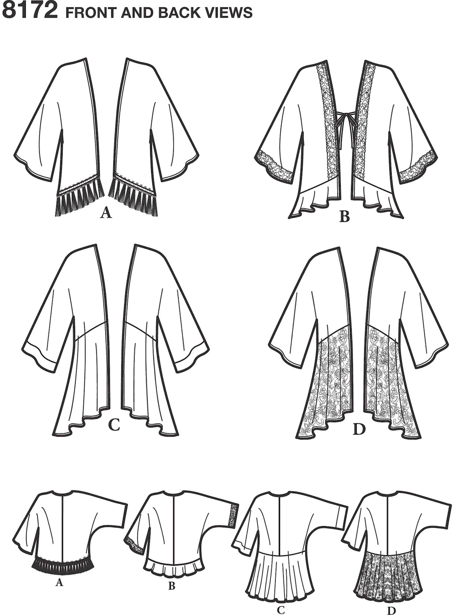 Simplicity Pattern 8172 Womens Fashion Kimonos with Length Fabric and Trim Variations Line Art From Patternsandplains.com