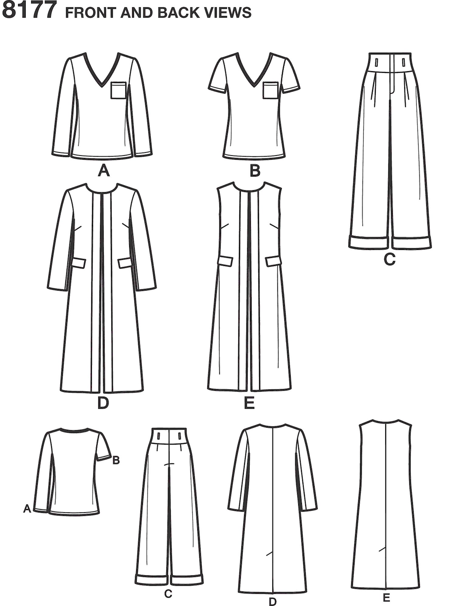Simplicity Pattern 8177 Mimi G Style Trouser Coat or Vest and Knit Top for Womens and Plus Sizes Line Art From Patternsandplains.com