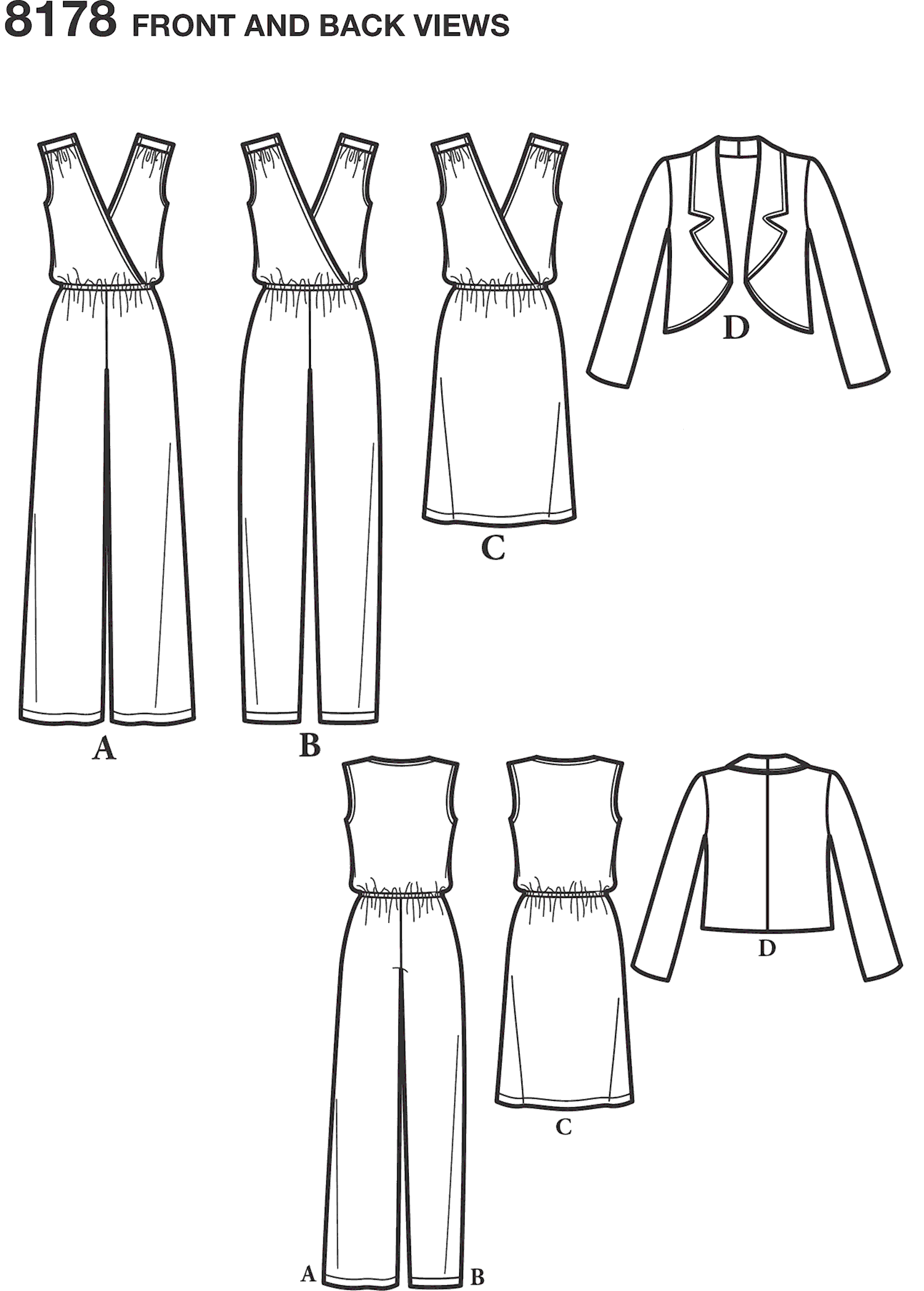 Simplicity Pattern 8178 Womens Jumpsuit with two leg widths Dress and Jacket Line Art From Patternsandplains.com