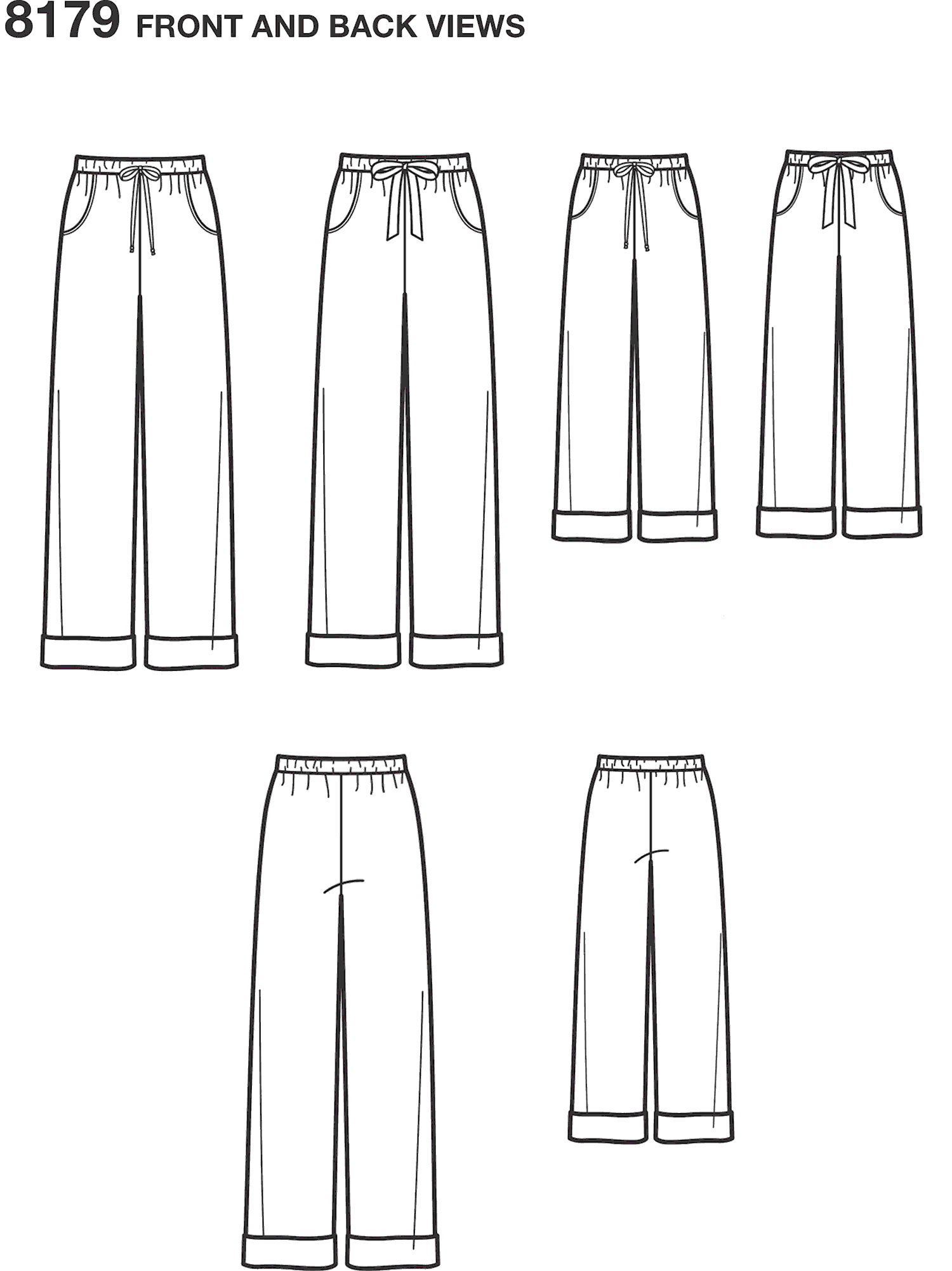 Simplicity Pattern 8179 Pattern 8179 Child Teen and Adult Lounge Pant Line Art From Patternsandplains.com