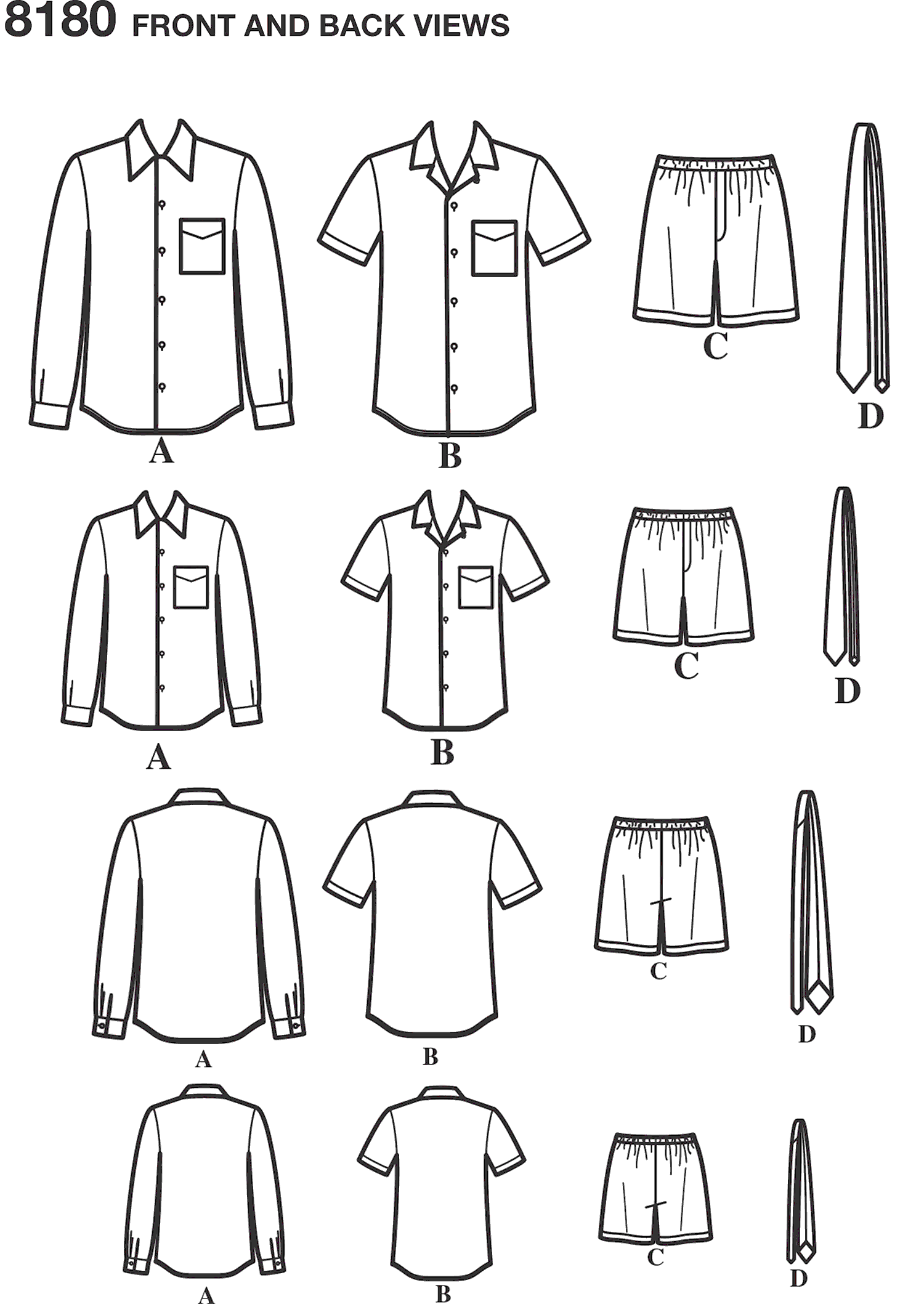Simplicity Pattern 8180 Boys and Mens Shirt Boxer Shorts and Tie Line Art From Patternsandplains.com