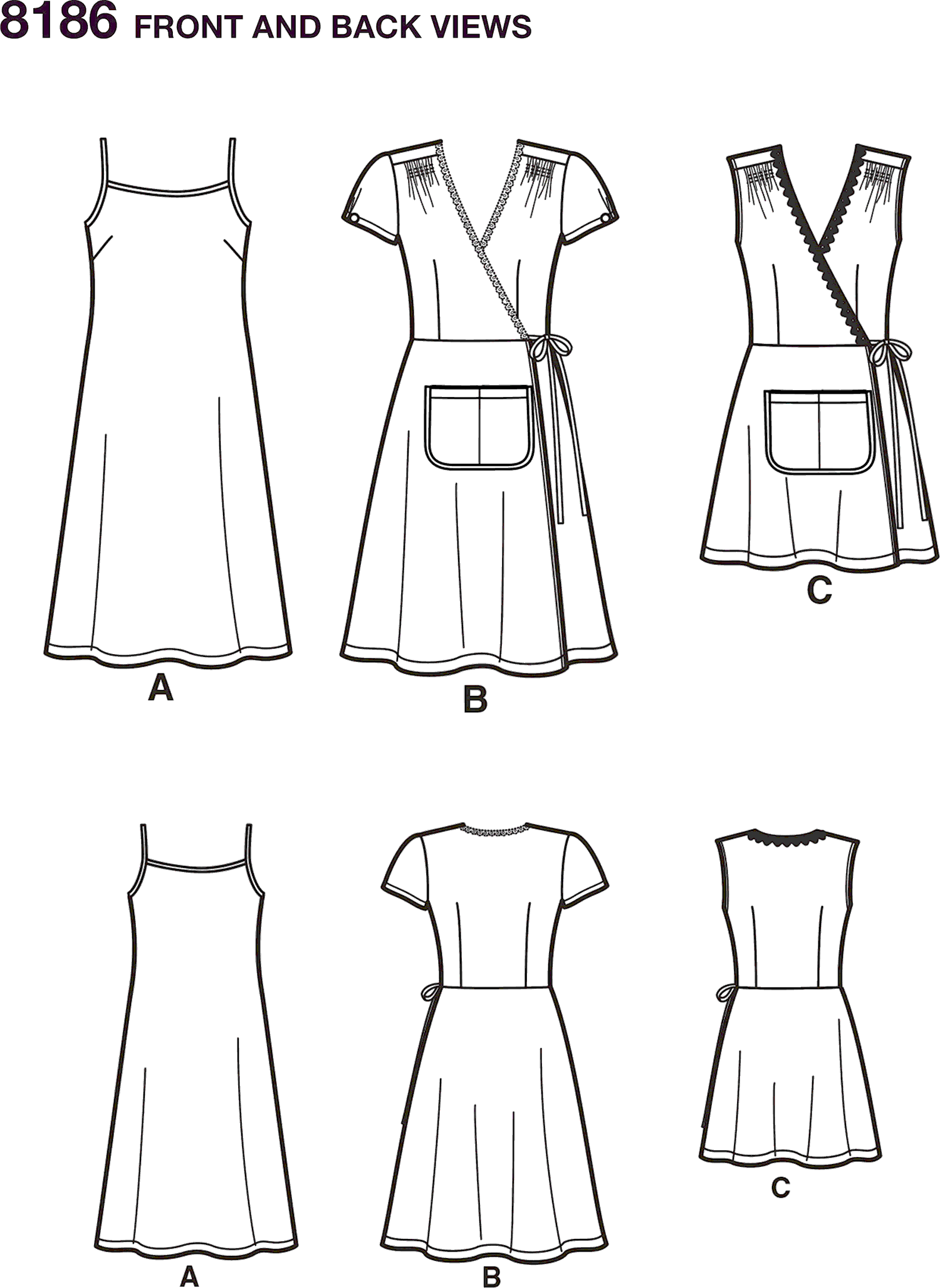 Simplicity Pattern 8186 Womens Dottie Angel Frock Wrap and Slip Dress Line Art From Patternsandplains.com