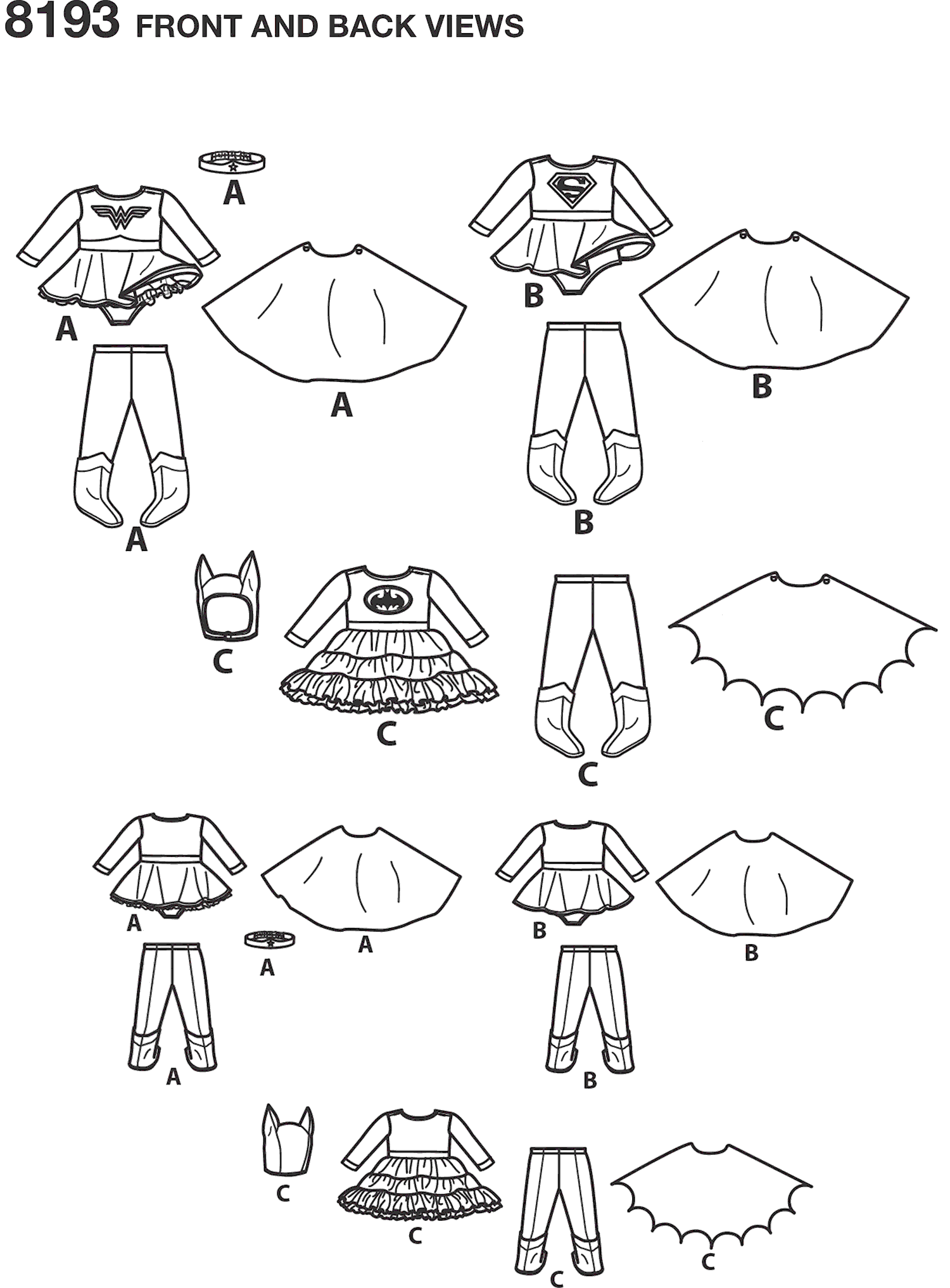 Simplicity Pattern 8193 Babies Super Hero Costumes Line Art From Patternsandplains.com