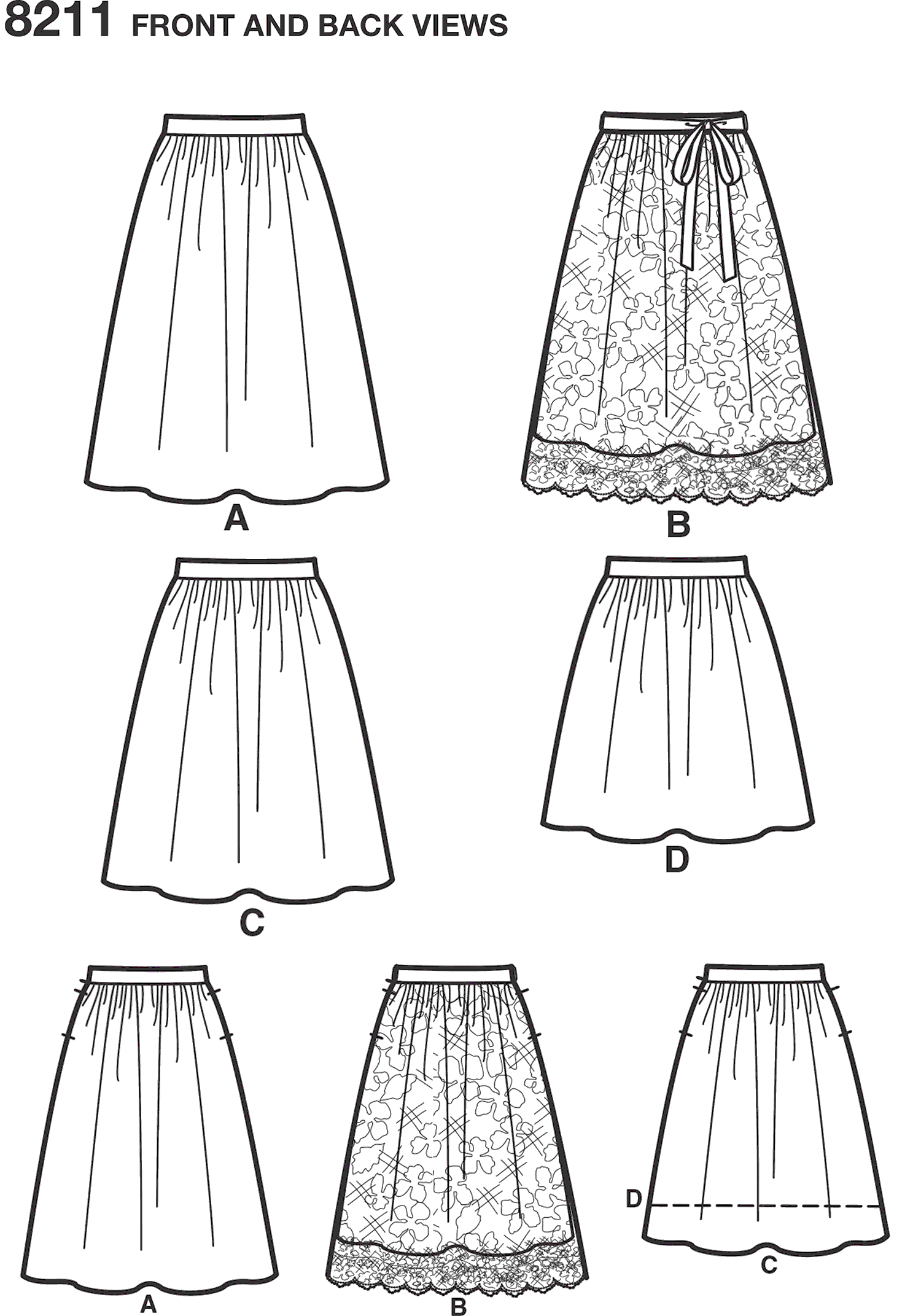 Simplicity Pattern 8211 Womens Dirndl Skirts in Three Lengths Line Art From Patternsandplains.com