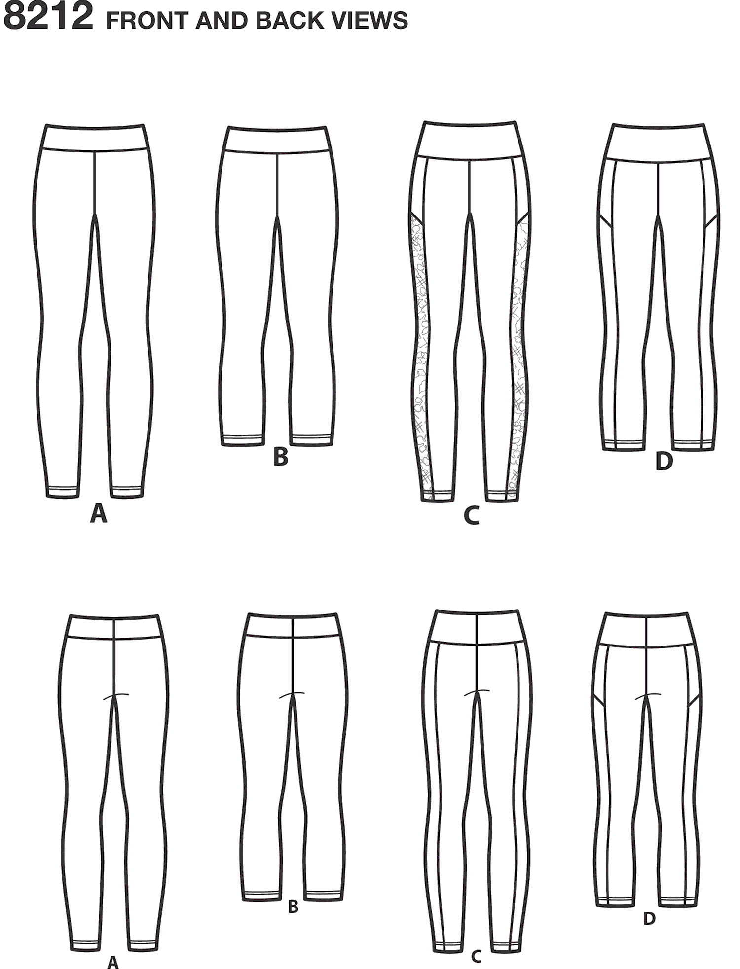 Simplicity Pattern 8212 Womens Knit Leggings Line Art From Patternsandplains.com