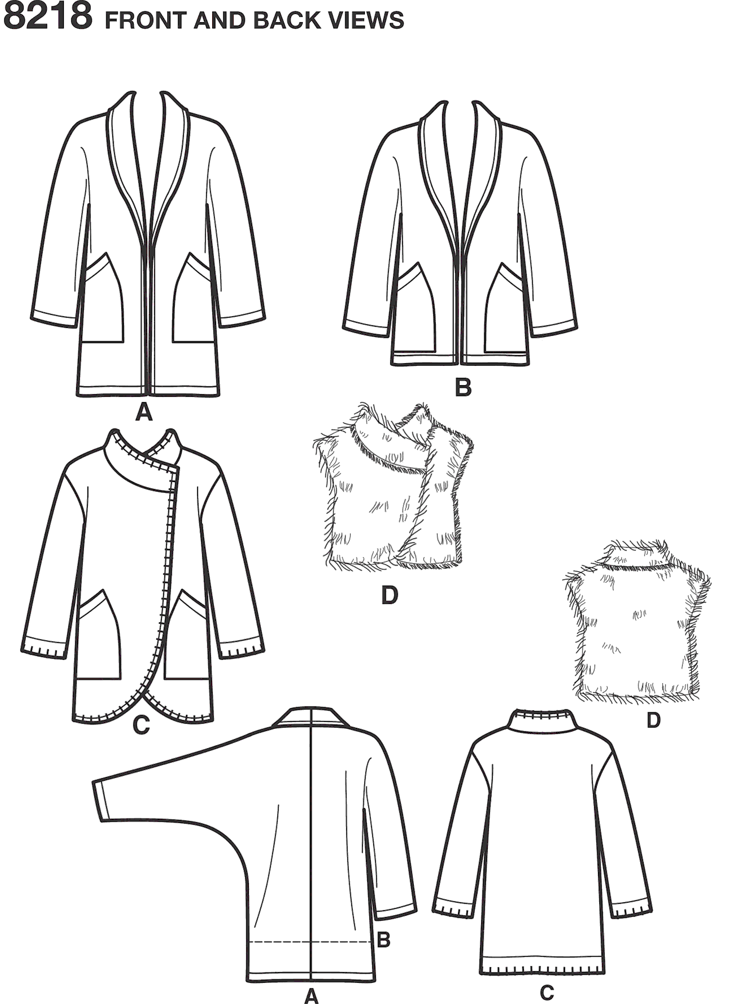 Simplicity Pattern 8218 Womens Easy to Sew Jackets and Vest Line Art From Patternsandplains.com