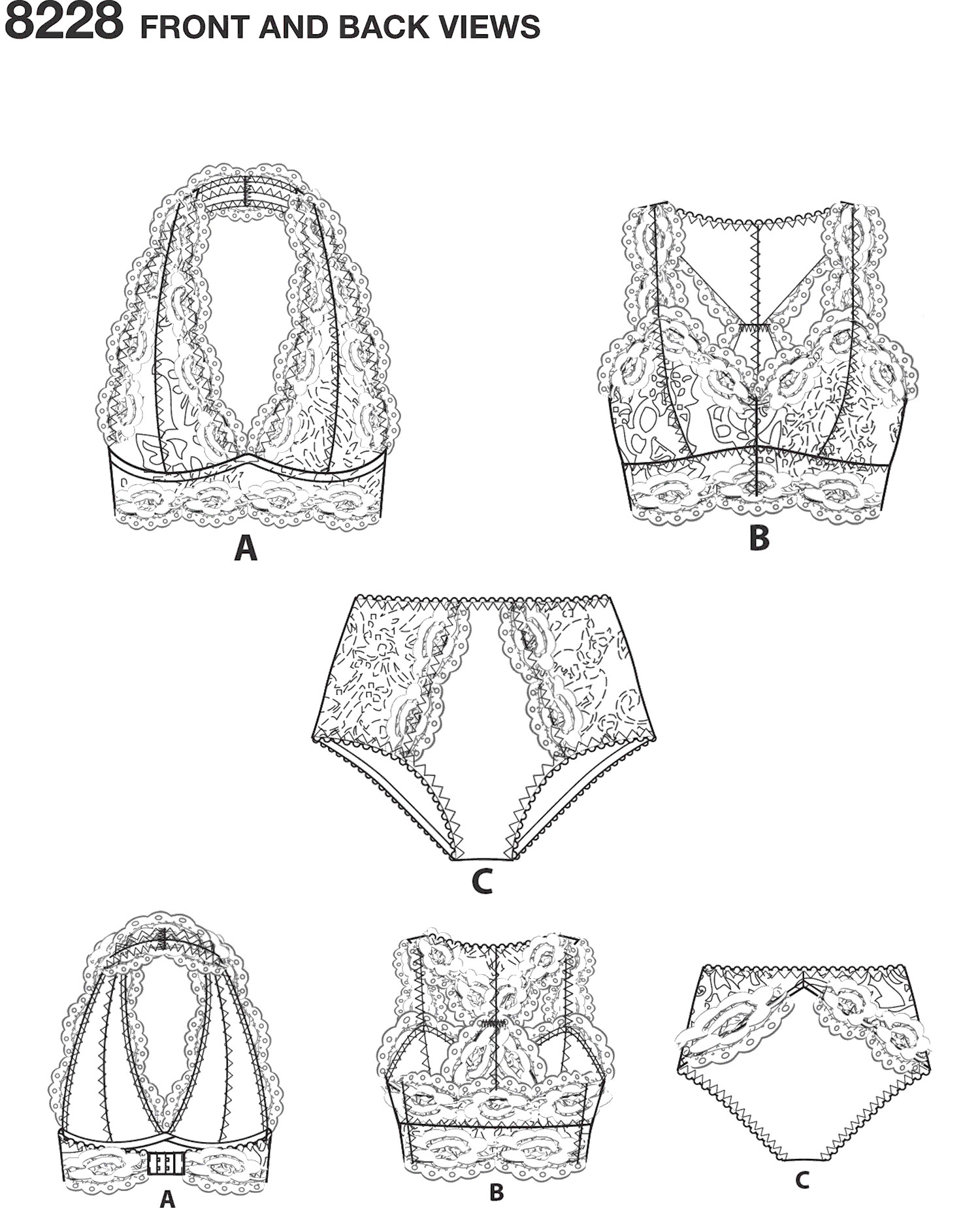 Simplicity Pattern 8228 Womens Soft Cup Bras and Panties Line Art From Patternsandplains.com